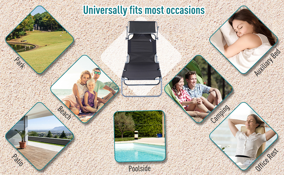 Outsunny Reclining Chair Folding Lounger Garden Outdoor