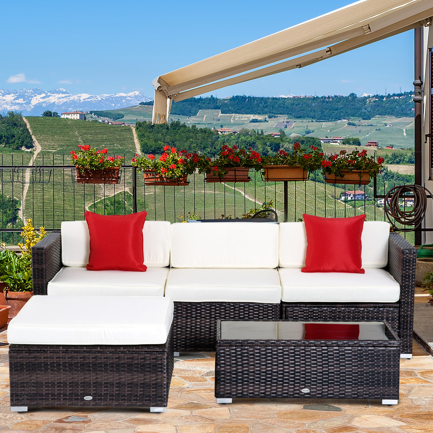 Image of CAD $729.99 Outsunny 5pc Outdoor Modular Rattan Wicker Sofa Set Garden Sectional Patio Furniture with Table / 5pcs Cushioned Seat Backyard Dark Coffee Canada 25093585944