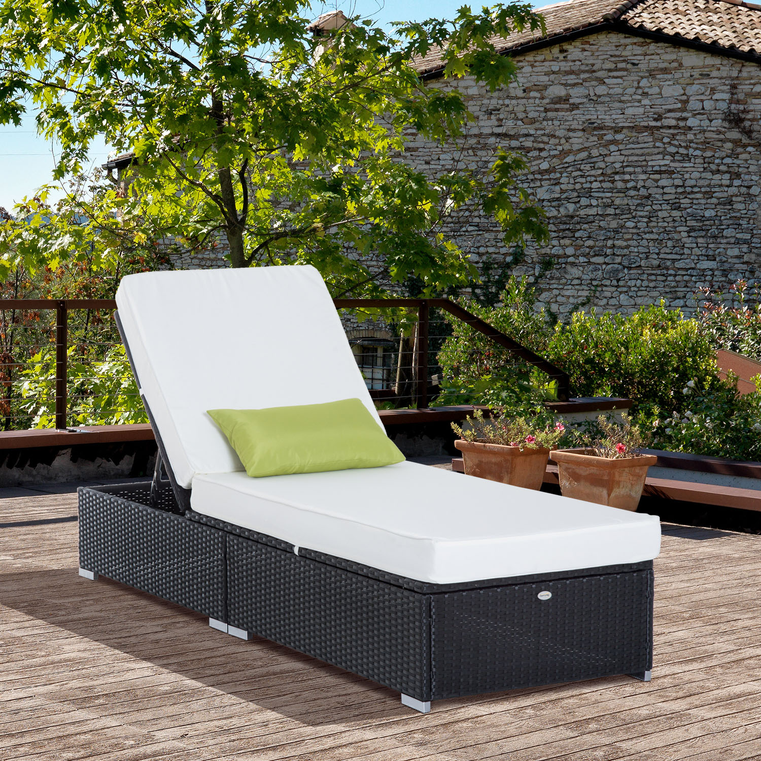 Image of CAD $242.99 Outsunny Rattan Lounge Outdoor Sun Lounger Patio Wicker Bed Garden Recliner Chaise Sofa Furniture / Adjustable Canada 25093571169