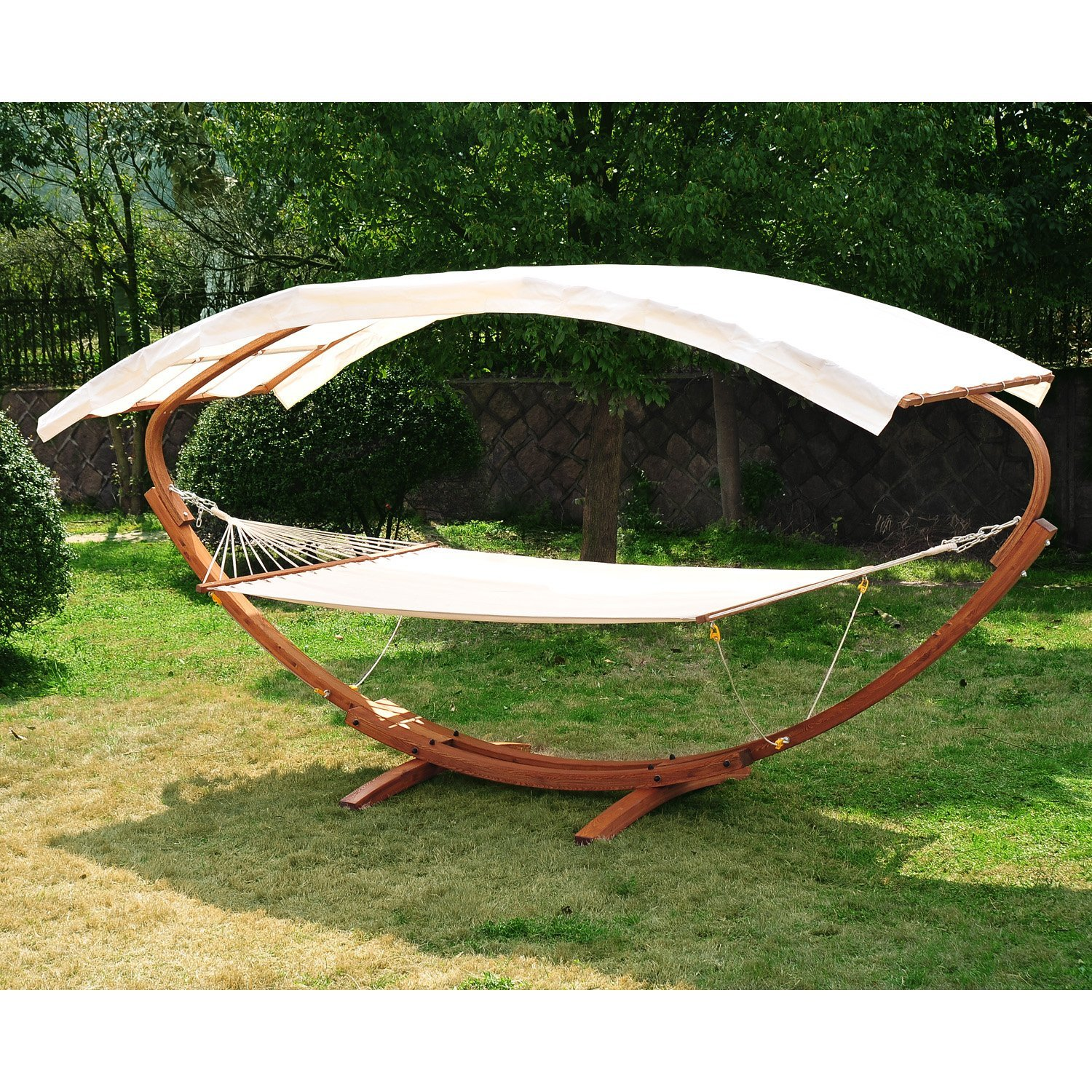 Image of CAD $359.99 Outsunny 2 Person Wood Swing Arc Hammock Bed and Stand Set with Canopy, White/Teak / w/ Canopy Canada 25093572203