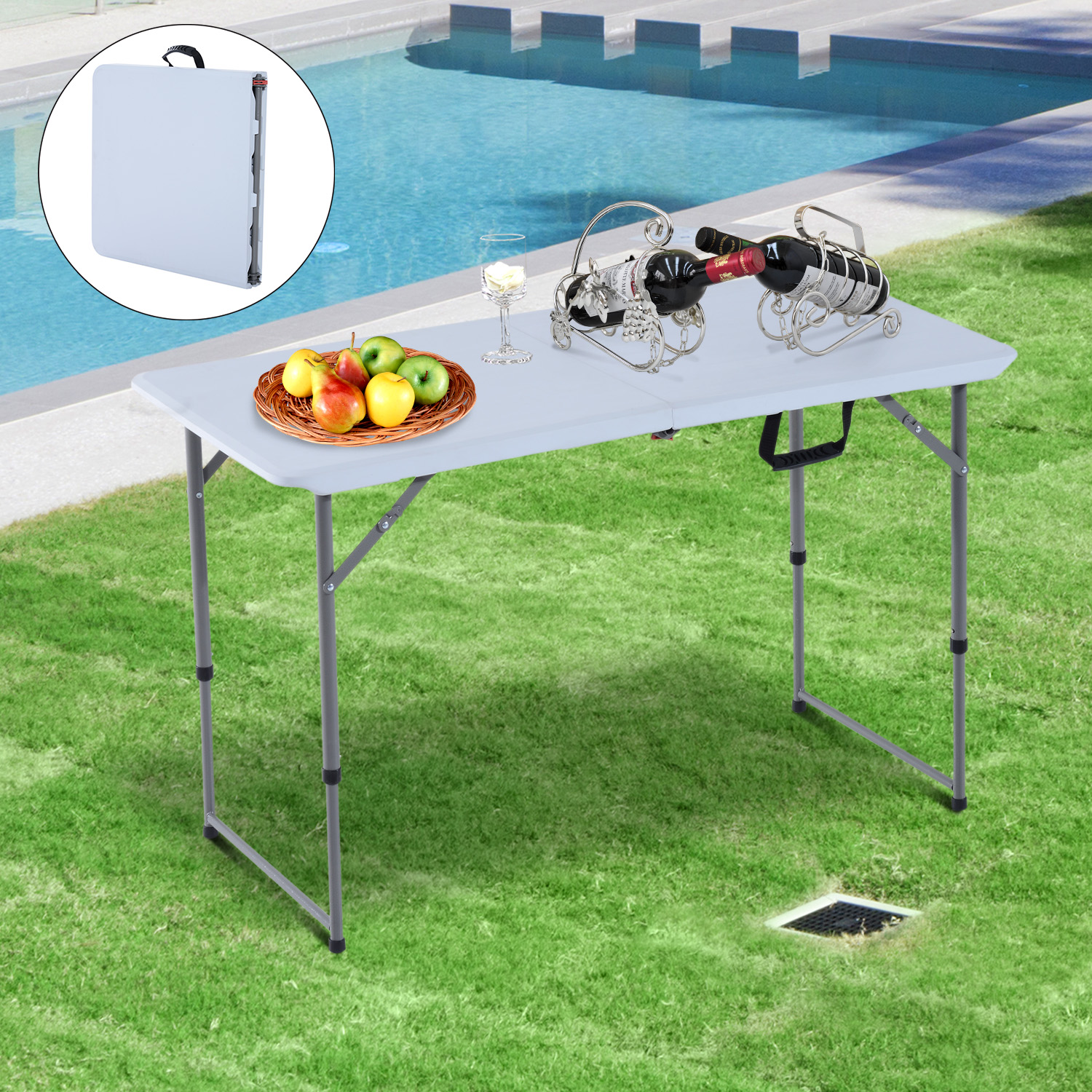 "Image of CAD $58.99 Outsunny Folding Camping 47.2"" Picnic BBQ Party Table Outdoor Garden Adjustable / with Leg (4 Feet) 47inch w/ Canada 25093577260"
