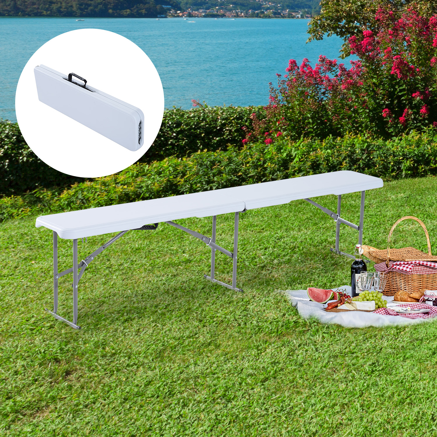 Image of CAD $68.99 Outsunny 6' Long Folding Bench Outdoor Camping Picnic Garden Party Seat / 6ft Canada 46655326959