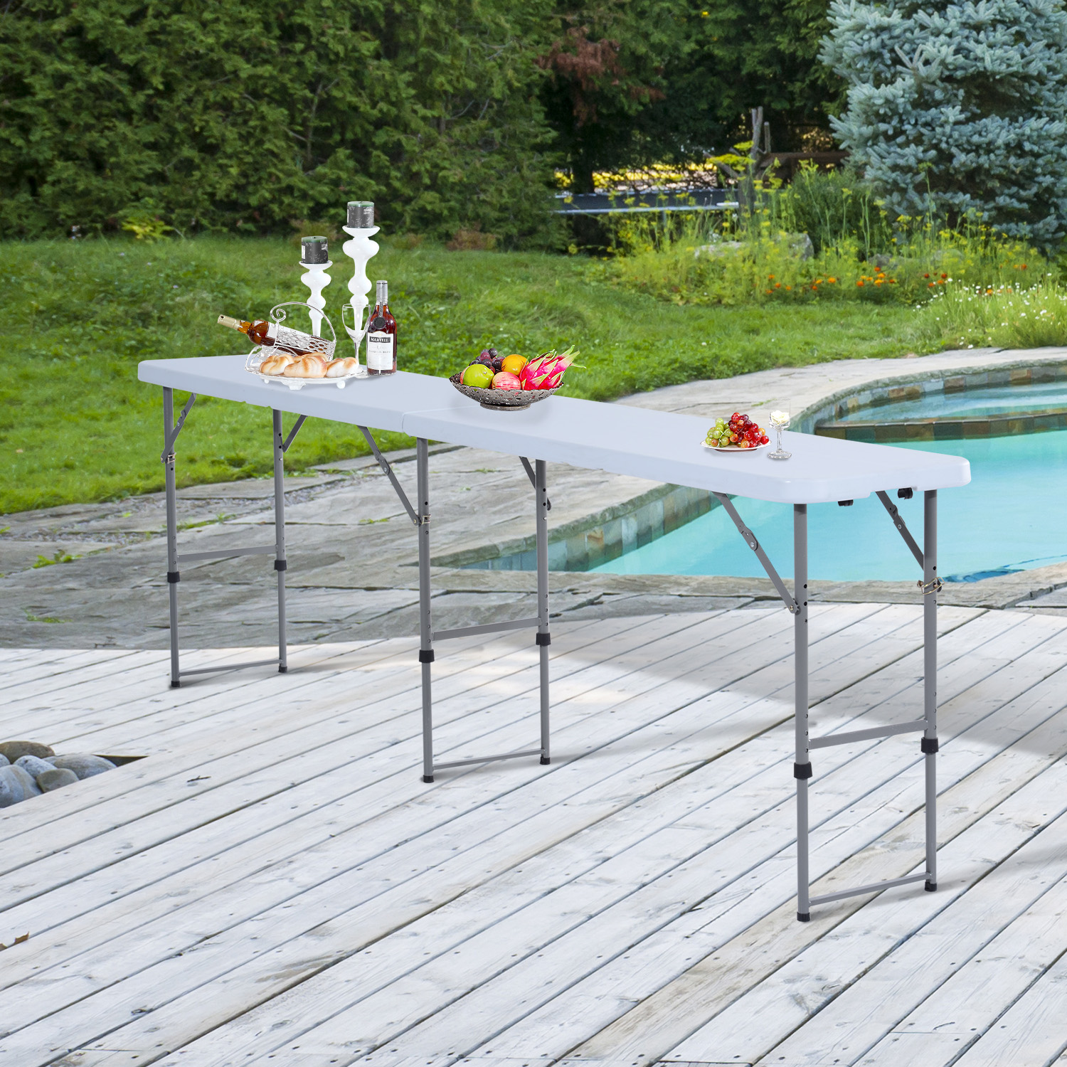 Image of CAD $99.99 Outsunny Folding Camping 8.6' Picnic BBQ Table Party Garden Outdoor Portable / with Adjustable Leg (9 Feet) 9ft w/ Canada 46655326973