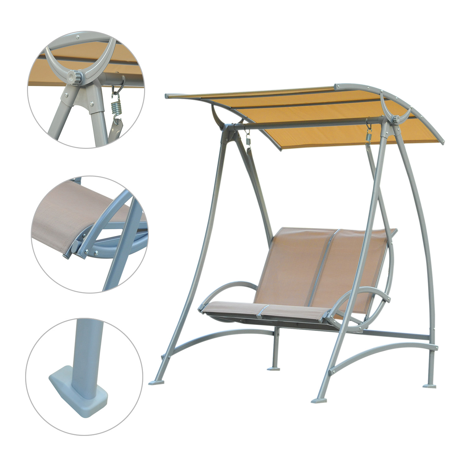 Image of CAD $229.99 Outsunny Garden Swing Chair 2 Seater Hammock Lounger Seat Bench Sun Canopy / with Metal Frame and Outdoor Hammock, Beige w/ Canada 25093577444