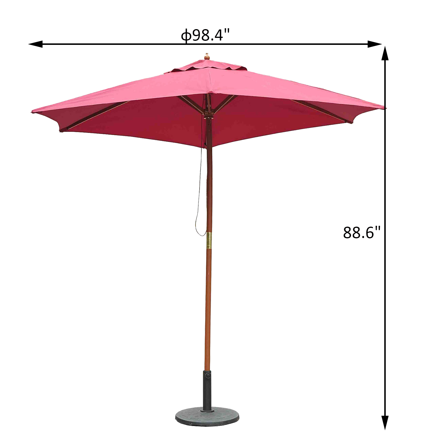 Image of CAD $49.99 Outsunny ?8.2' x 7.4'H Bamboo Wooden Round Market Patio Sun Umbrella Garden Parasol Outdoor Sunshade Canopy, Wine Red / Canopy Canada 25093577055
