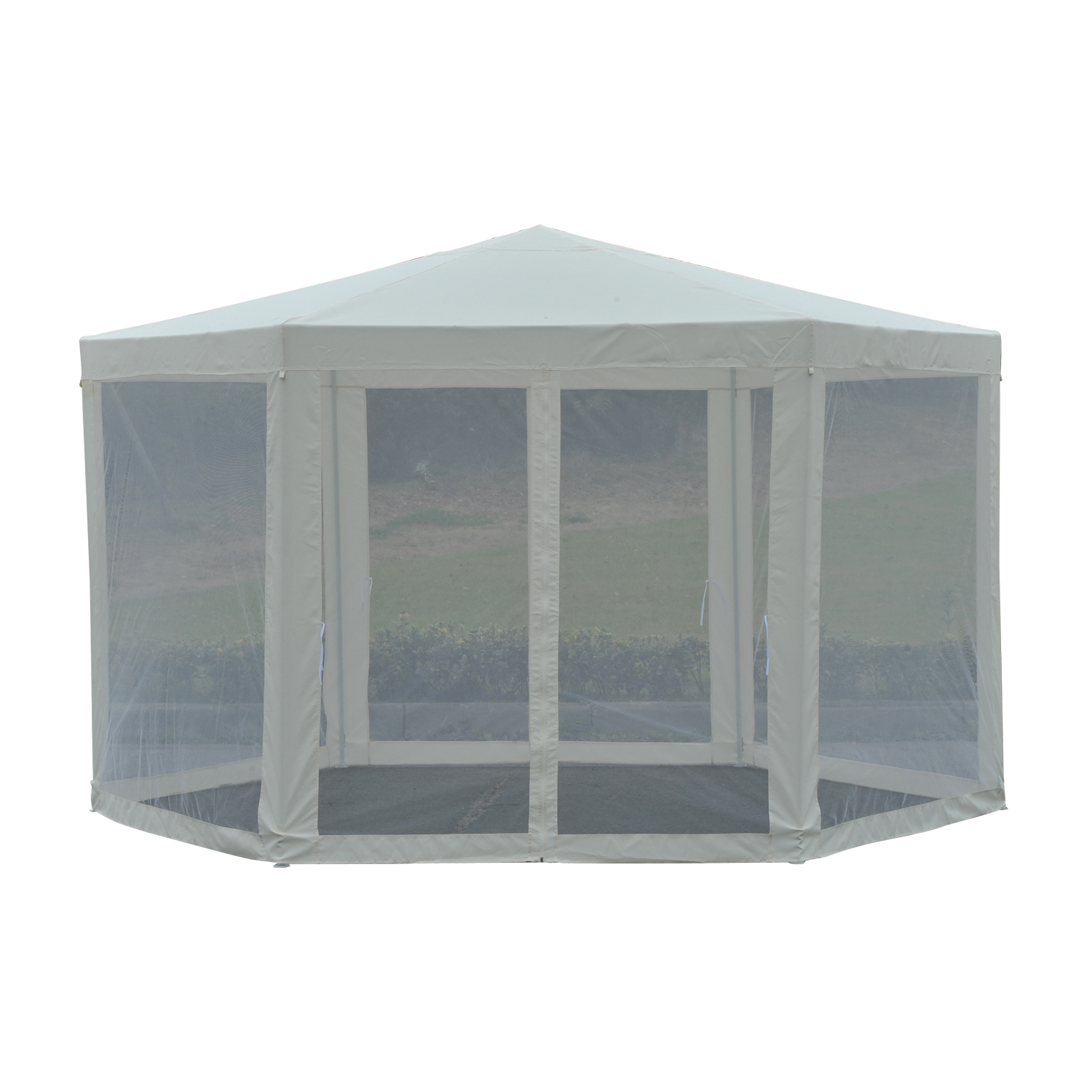 Image of CAD $99.99 Outsunny Netting Gazebo Hexagon Patio Outdoor Party Activities Waterproof Beige / ?12.8