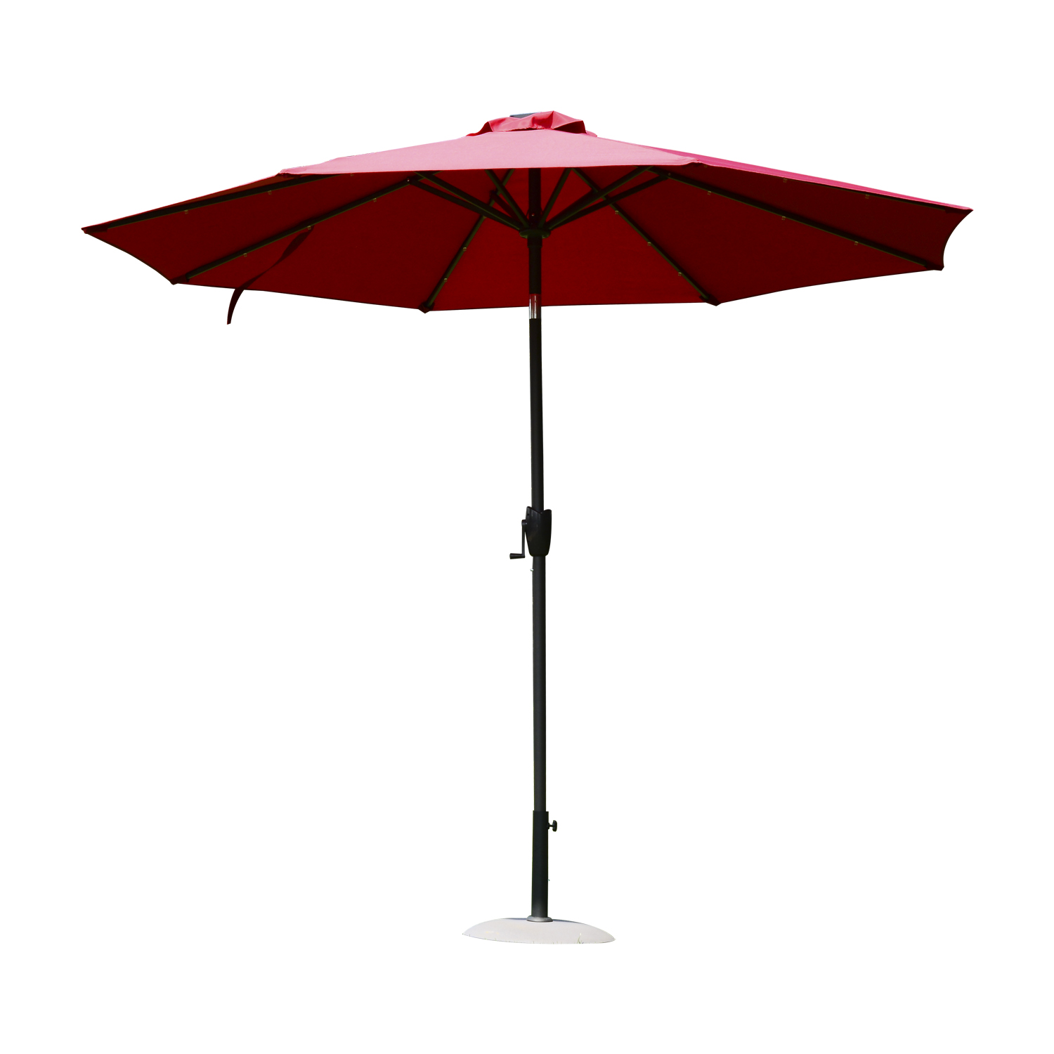 Image of CAD $119.99 Outsunny 9' Solar LED Patio Outdoor Umbrella for Garden and Market, Sunshade, Beach Parasol Steel, Wine Red / Market Sunshade Steel Canada 25093571794