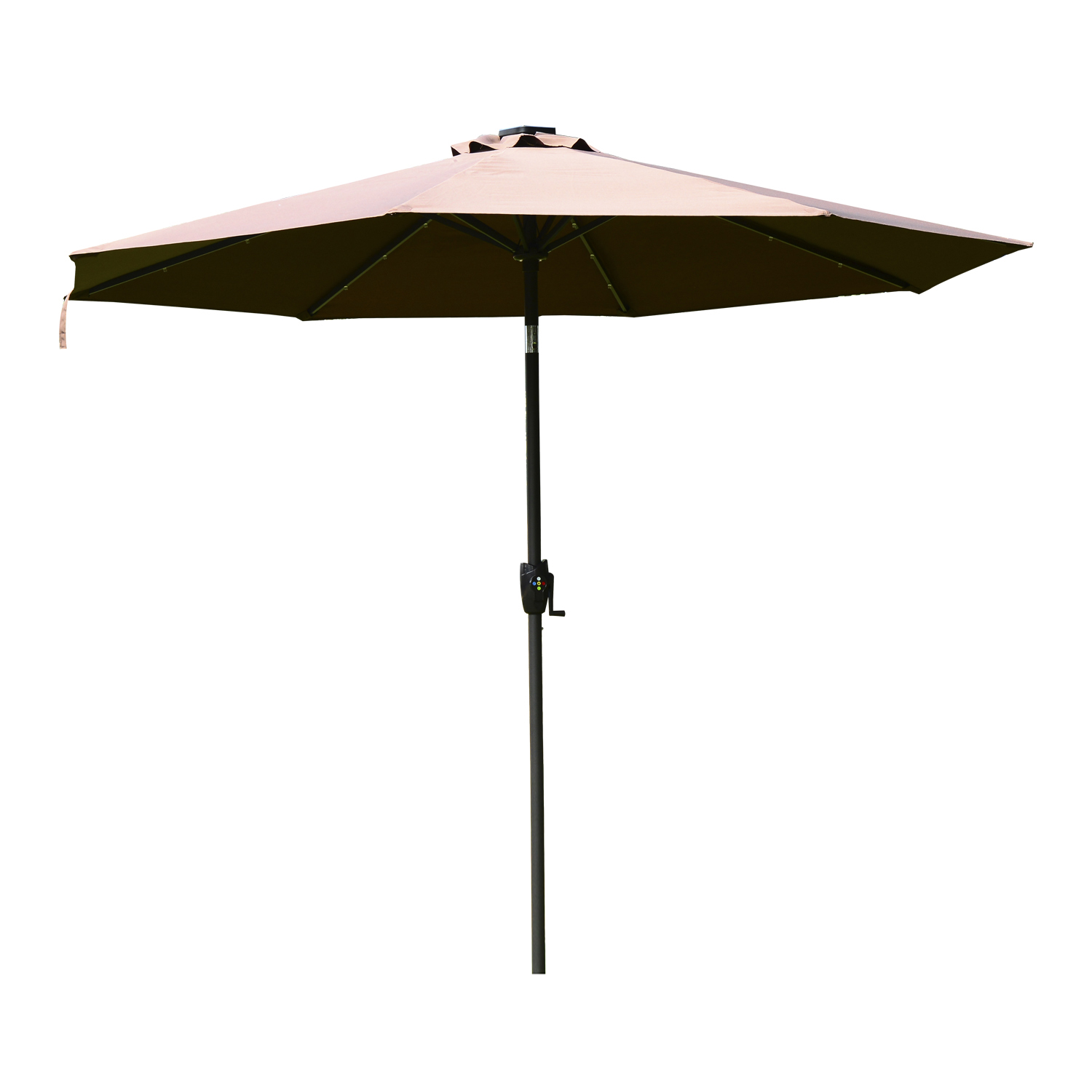 Image of CAD $109.99 Outsunny 9ft Solar LED Patio Umbrella Brown & Coffee / 9' Outdoor for Market and Garden, Parasol with Adjustable Light, w/ Light Garden Canada 25093571787