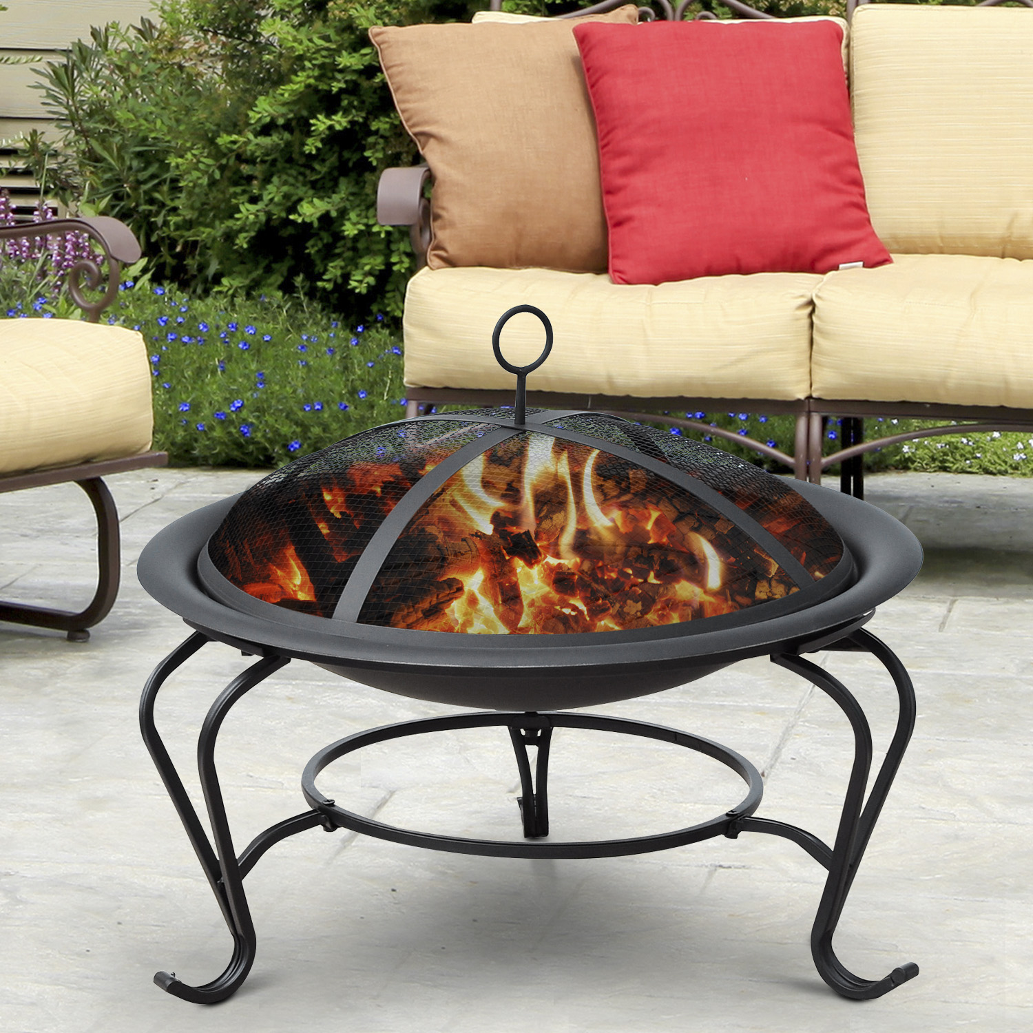 "Image of CAD $74.99 Outsunny 22"" Round Fire Pit with Poker and Spark Screen Wood Burning Patio Fireplace Black / Firepit Garden Heater Portable Porch Deck w/ Canada 95509792419"