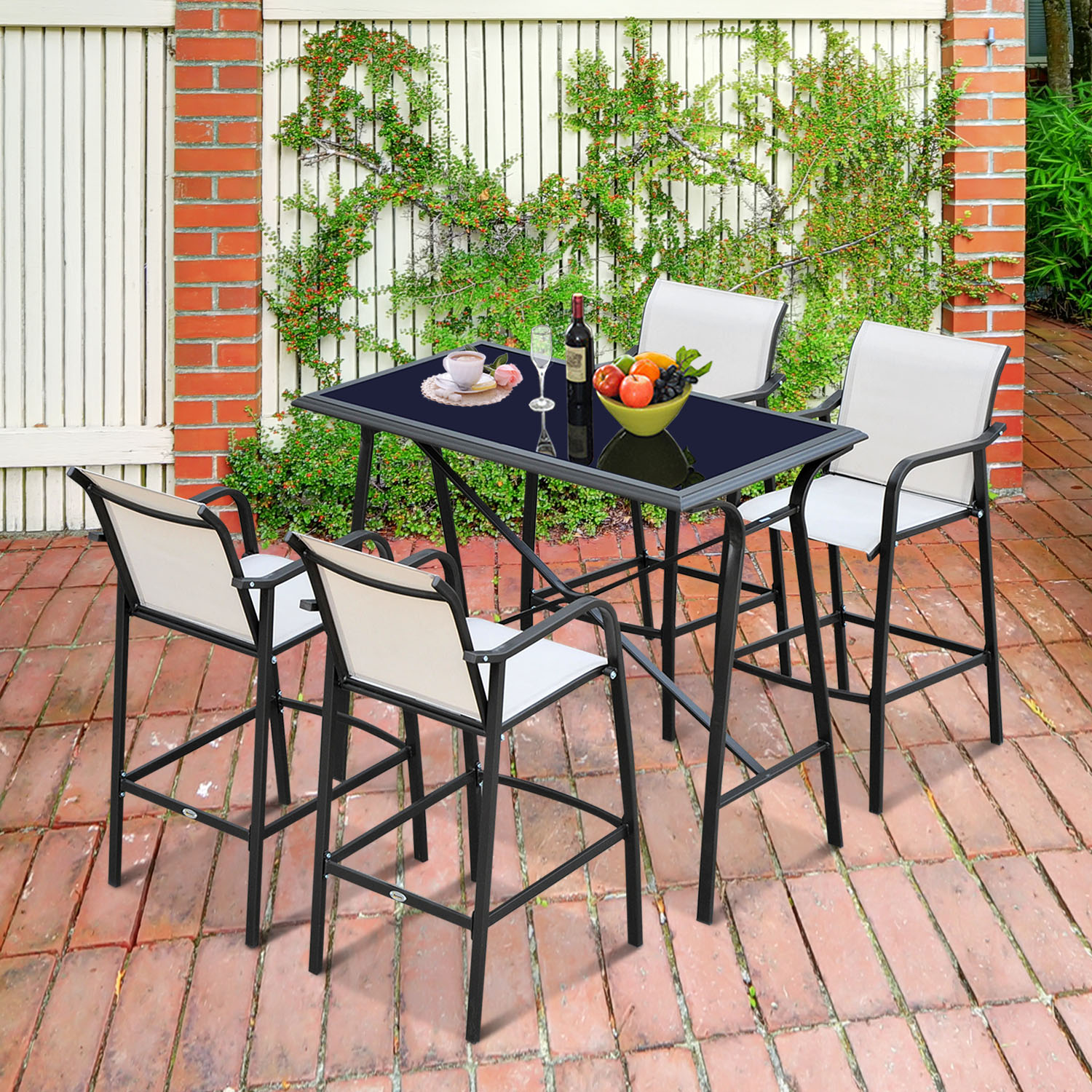 Picture of: Cad 419 99 Outsunny 5pcs Bar Set Table 4 Arm Chair Stool Dining Furniture Home Garden Pub 5pc Sling Outdoor And Stools Patio Steel Frame Canada 25093578687
