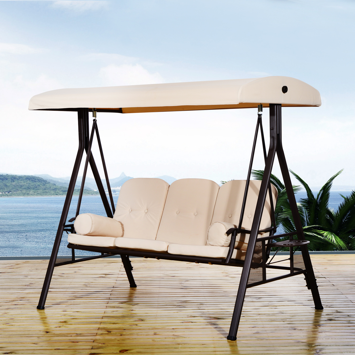 Image of CAD $429.99 Outsunny Swing Chair Lounge Canopy Outdoor 3 Person Garden Balcony Furniture / Heavy-duty Seater Covered Lounger Hammock with Cushion Tilt and Pillows Beige Cushioned Seat w/ Canada 46655328830