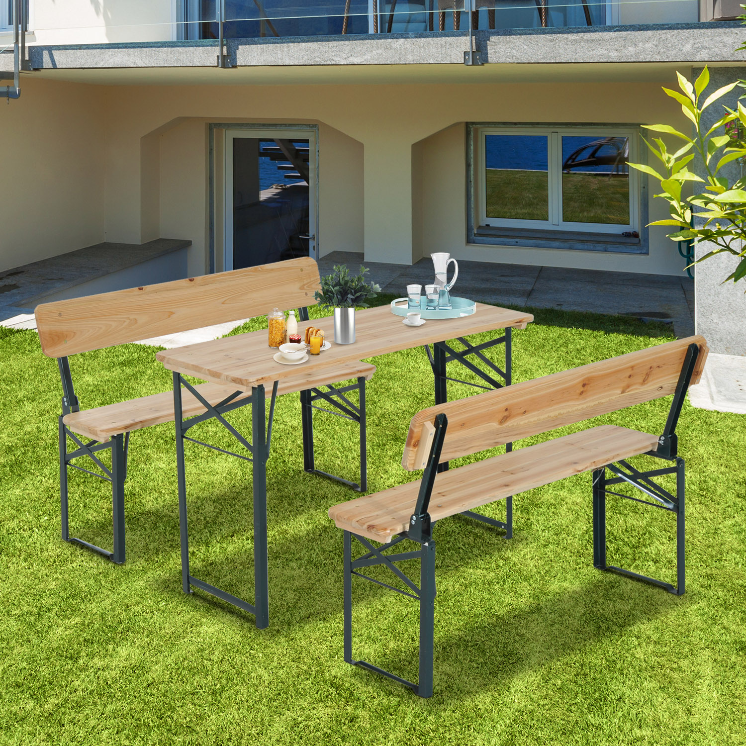 """Image of CAD $159.99 Outsunny 3pcs Table Bench Set Camping Picnic Patio Garden Folding Wooden Top / 46"""" Heavy Duty 3pc with Backrest Portable BBQ Party (4') 46inch Canada 46655328120"""