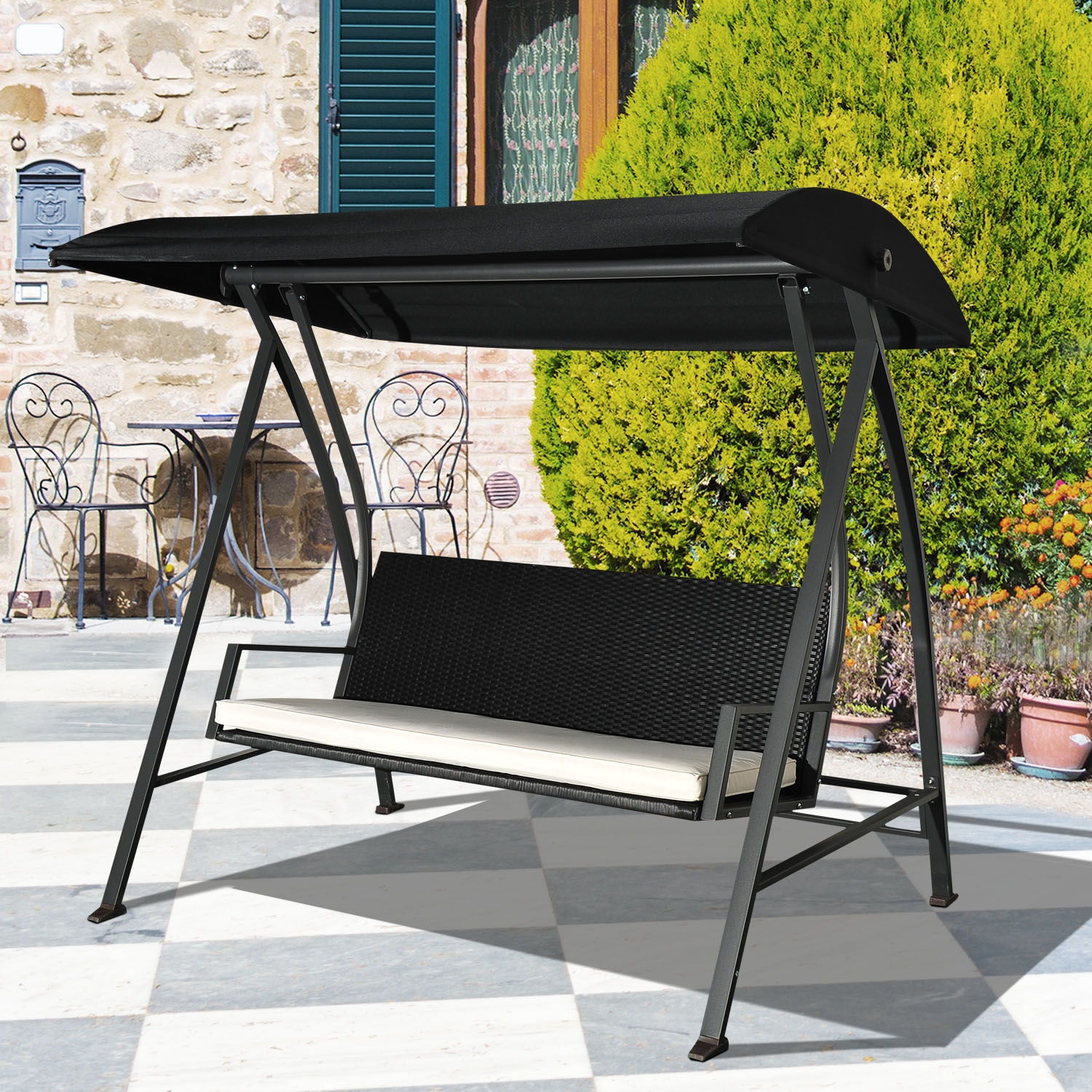 Image of CAD $359.99 Outsunny Outdoor Swing Chair w/ Canopy Sling Hammock / 3 Person Wicker Porch Rattan Patio Lounger Canada 95509799845