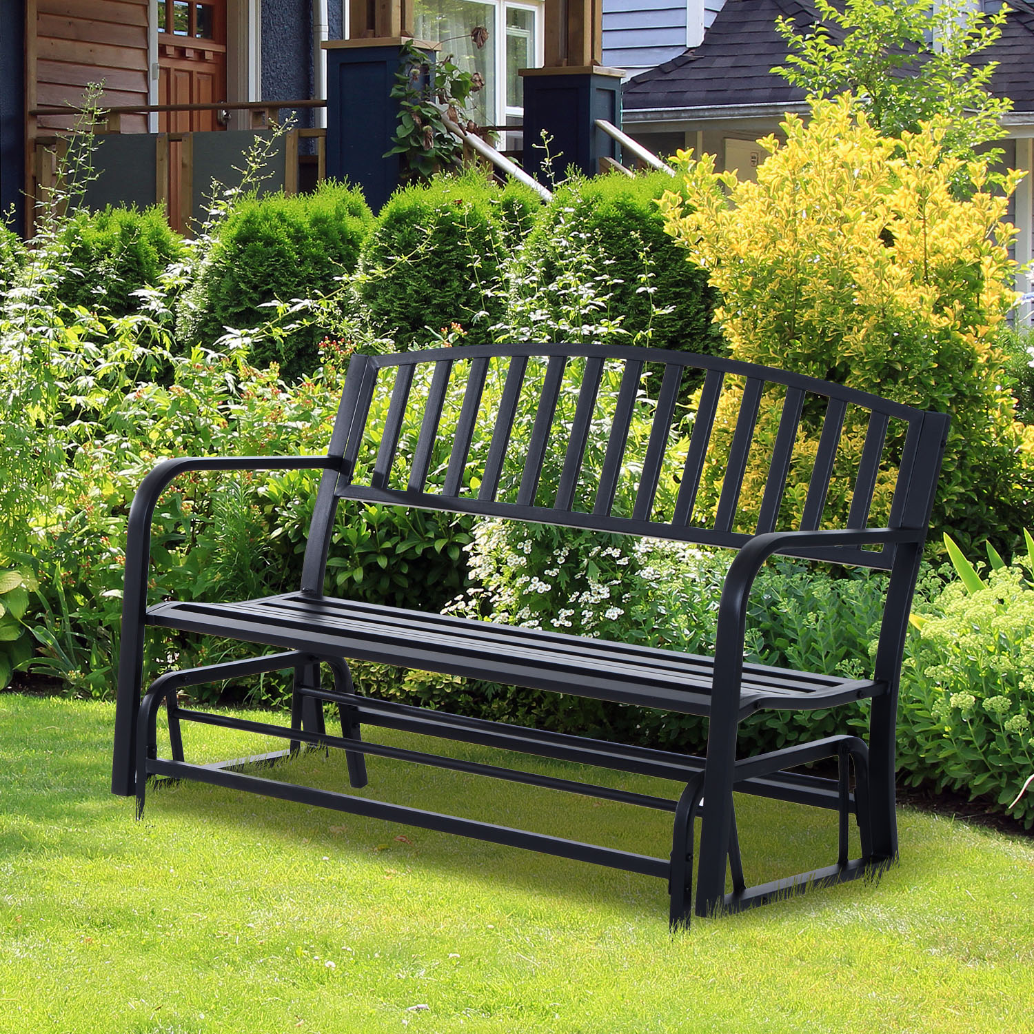 "Image of CAD $189.99 Outsunny 50"" 2 Seater Glider Bench Garden Outdoor Patio Steel Seat Black / Rocking Chair Armchair Canada 25093585159"