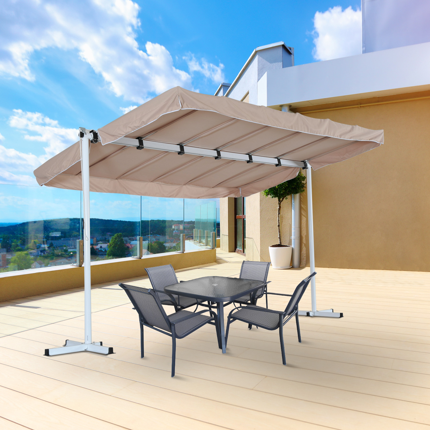 Image of CAD $379.99 Outsunny 12'x8' Free Standing Manual Retractable Awning Outdoor Gazebo Garden Sunshade Beige / 12x8ft Sun Shelter Patio Backard Canada 25093582653