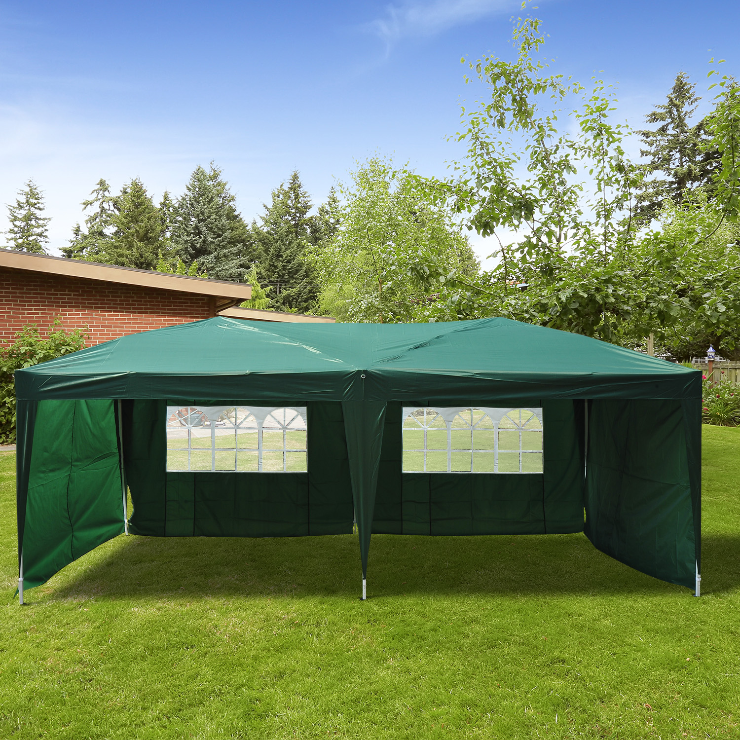 Image of CAD $219.99 Outsunny 10x20ft Easy Pop up Party Tent Outdoor Sunshade Wedding Shelter with 4 Side Walls and Carrying Bag Green / Instant Canopy Gazebo (Green) w/ Canada 25093582677