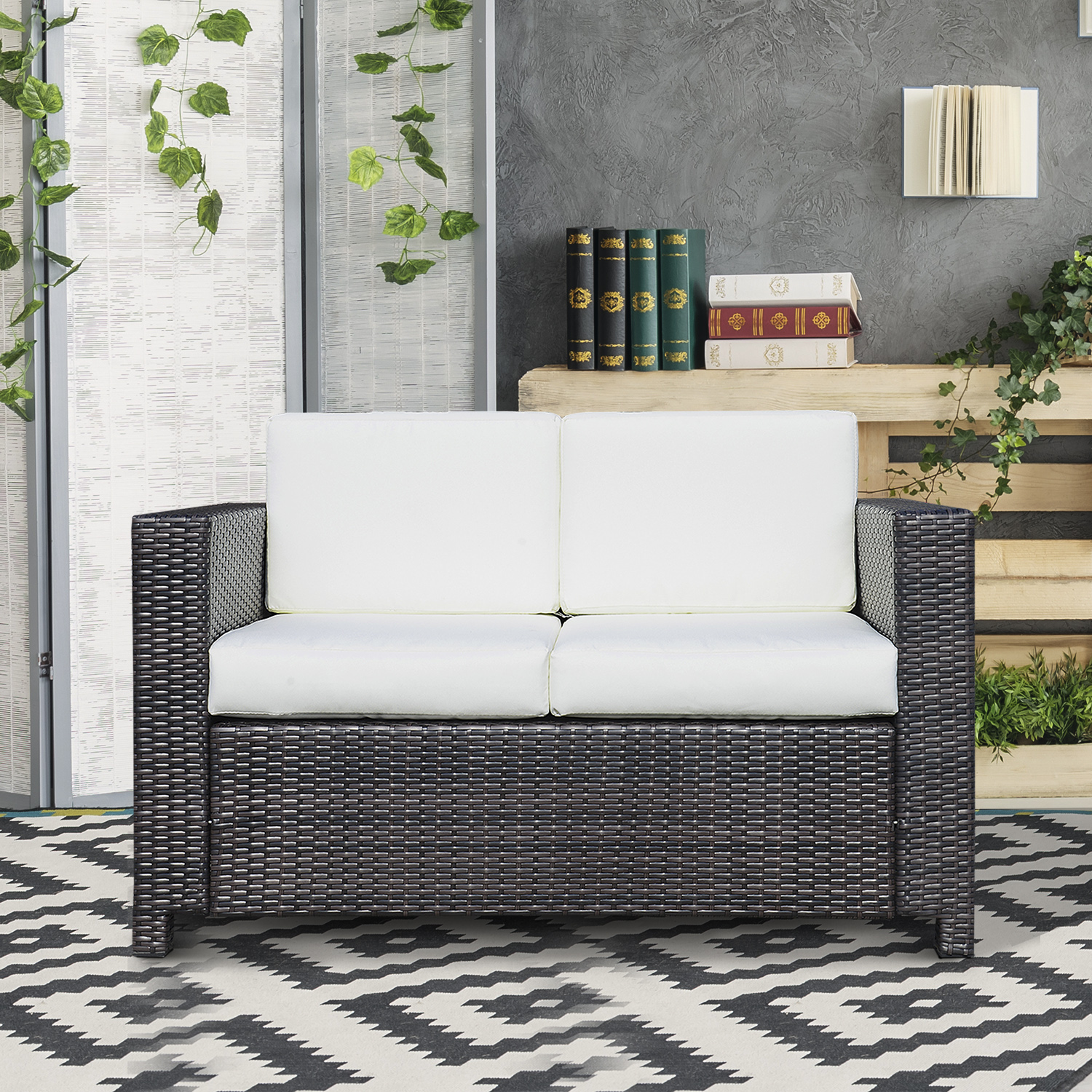 Image of CAD $299.99 Outsunny Deluxe 2 Seat Rattan Wicker Sofa Garden Cushioned Loveseat Outdoor Patio Furniture Brown / All Canada 25093585289