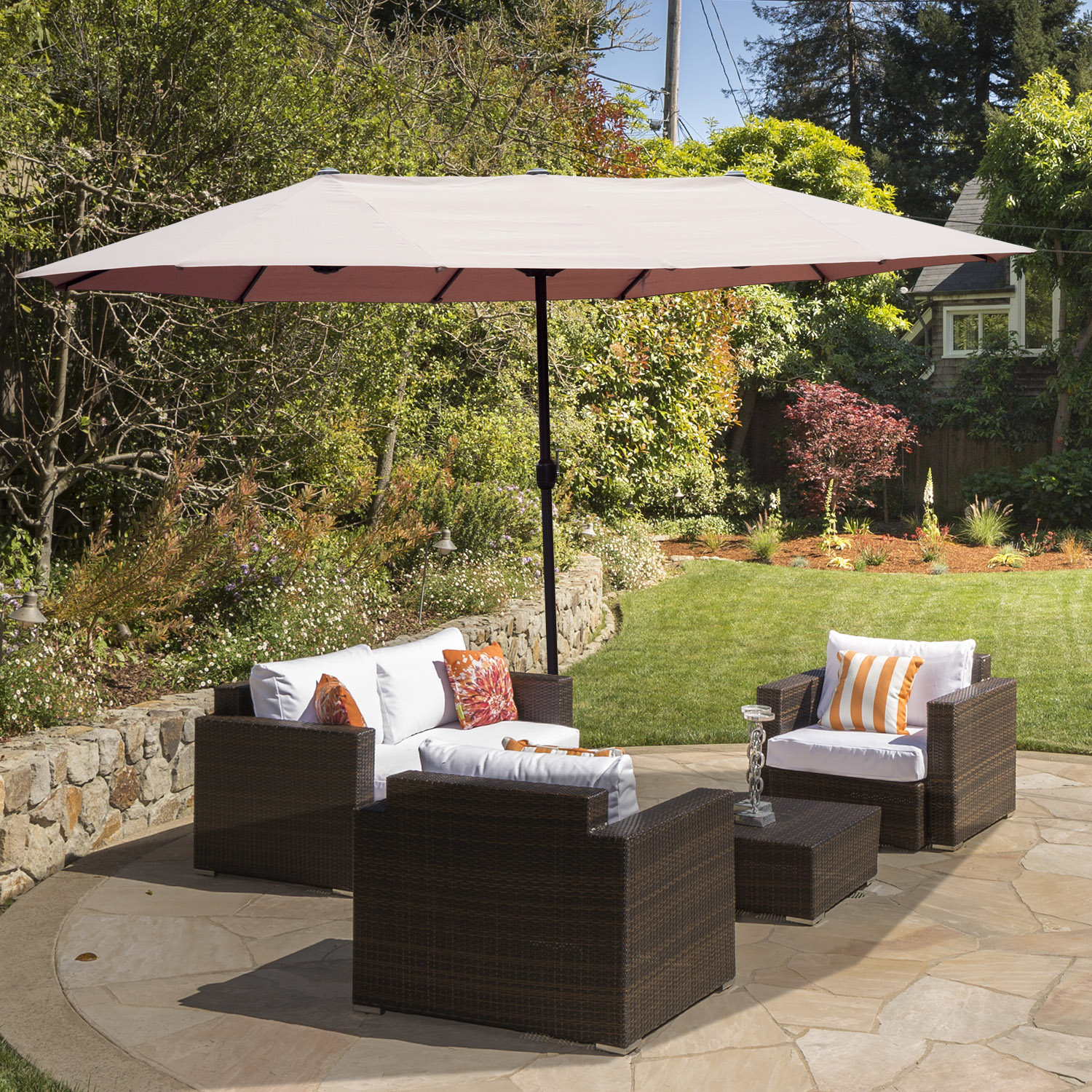Image of CAD $129.99 Outsunny 15ft Outdoor Twin Patio Umbrella Double-Sided Market Parasol Sun Shelter with Crank Tan / (Light Coffee) w/ Canada 25093585661