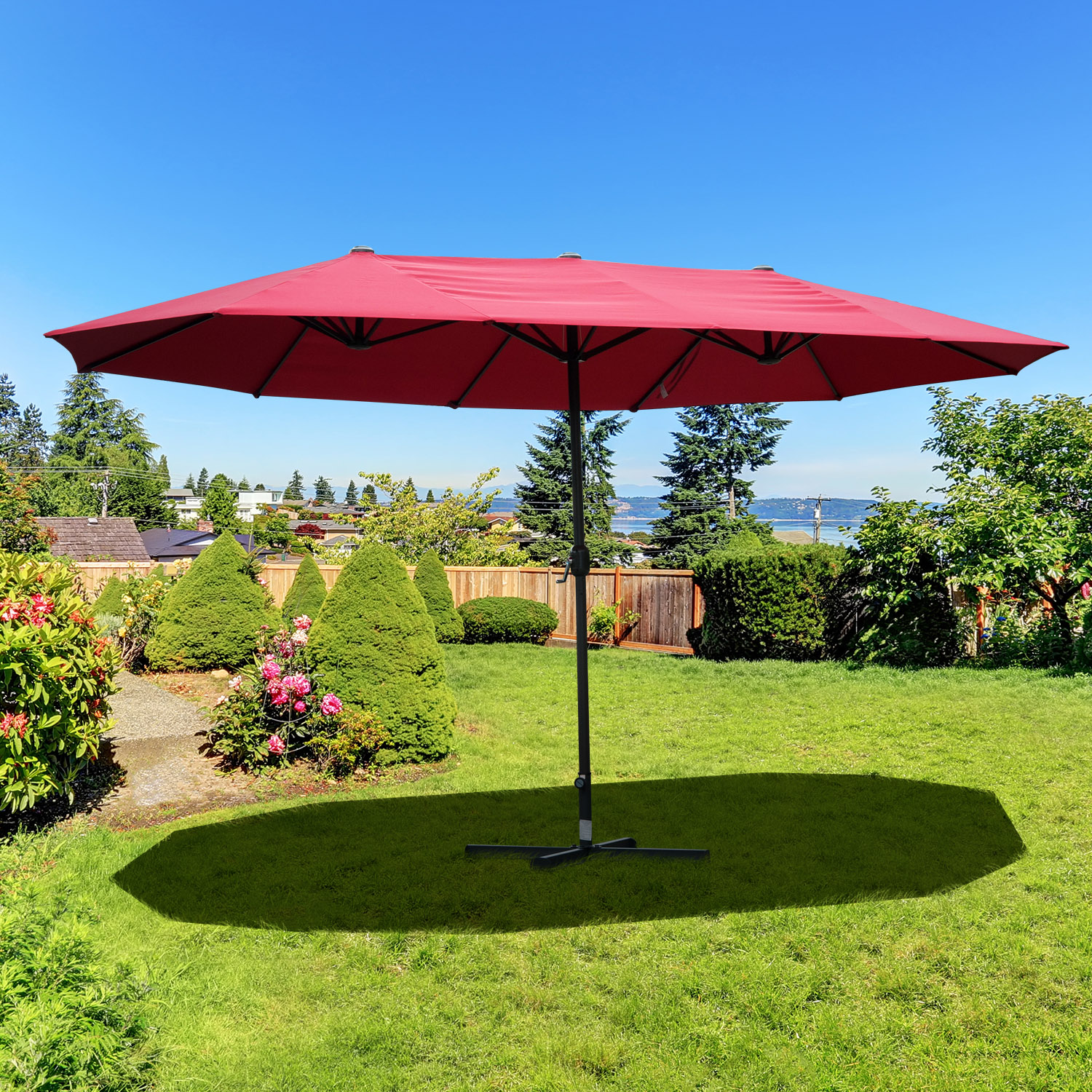 Image of CAD $154.99 Outsunny 15ft Outdoor Twin Patio Umbrella Double-Sided Market Parasol Sun Shelter with Crank Wine Red / Canada 25093585654