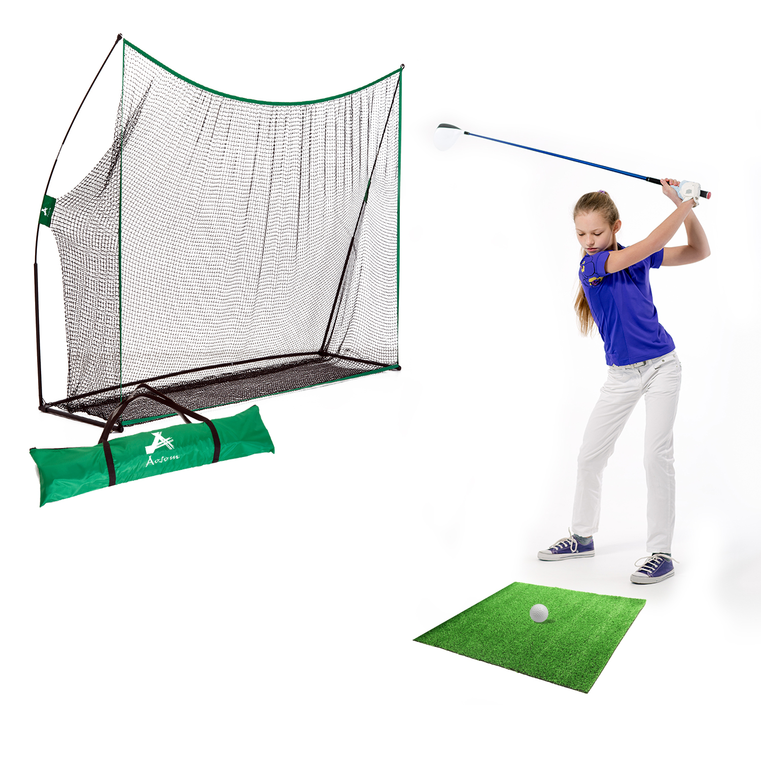 Image of CAD $102.99 Aosom 10x7ft Golf Practice Net Portable Swing Training Aid with Carry Bag / Hitting Chipping Netting Aids In/Outdoor w/ Carrying Canada 25093585852