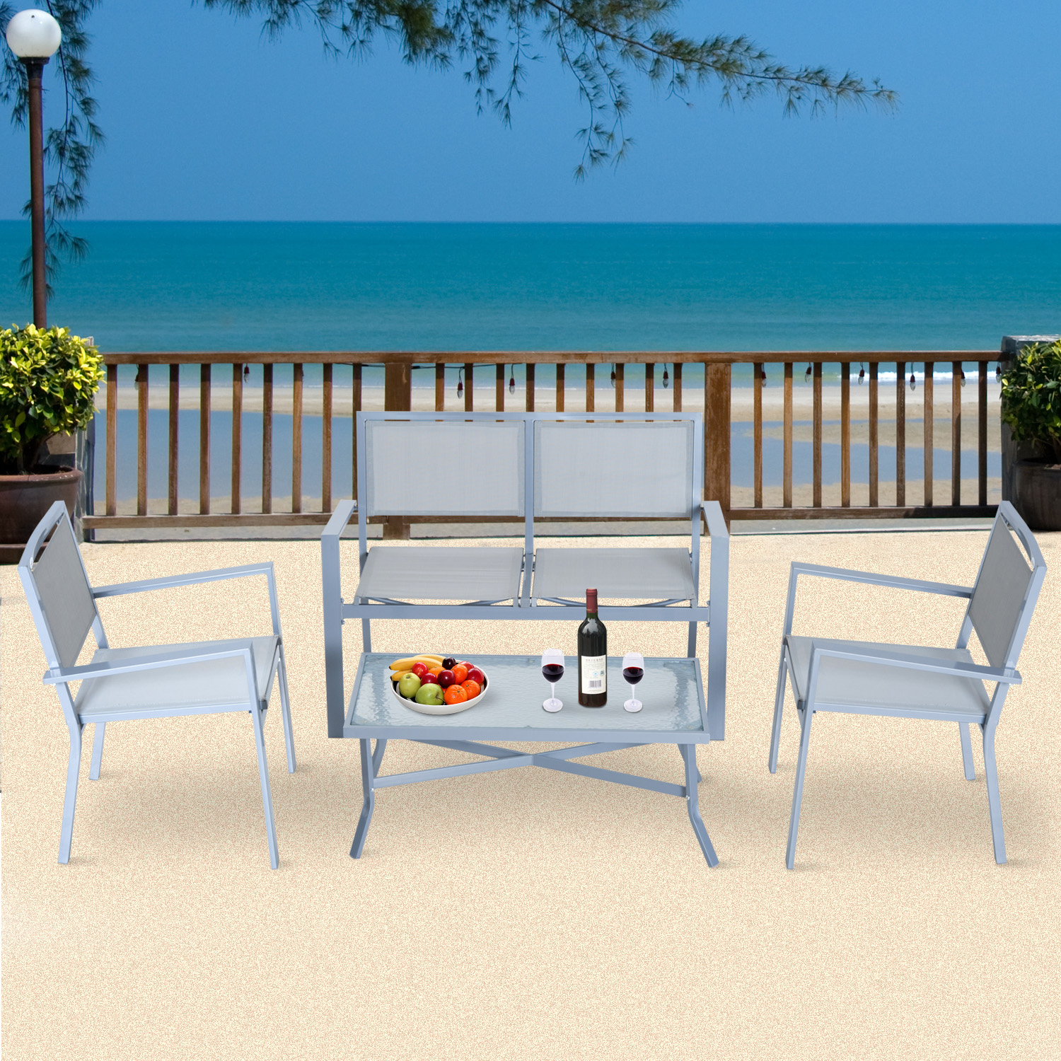 Image of CAD $249.99 Outsunny 4pc Sling Mesh Sectional Sofa Set Outdoor Garden Patio Furniture Grey / Table 4pcs Texteline Deck Canada 25093585791