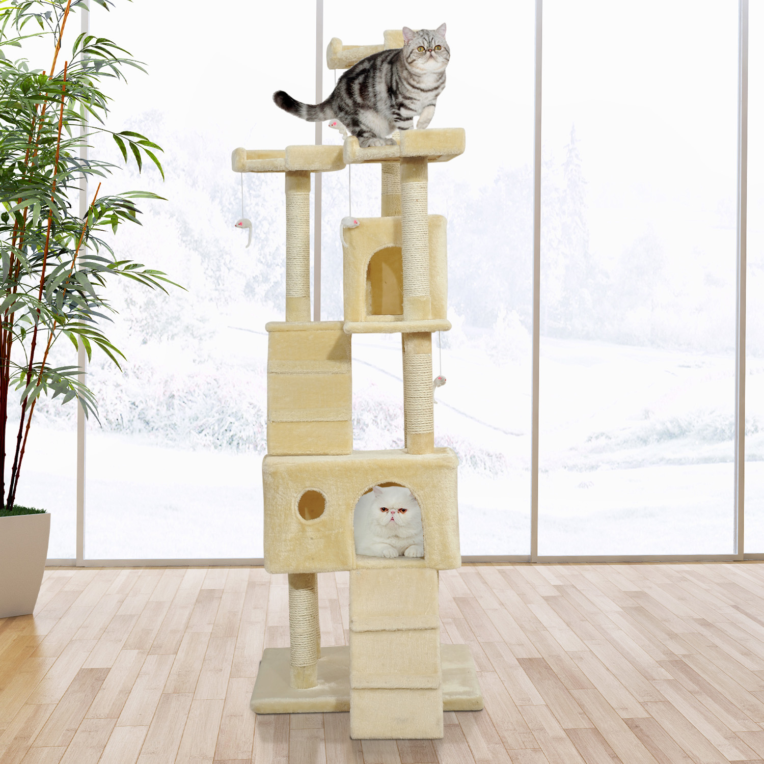 Image of CAD $112.99 PawHut 71in Deluxe Multi-Level Scratching Cat Tree Play House with Two Condos and Toys Beige / 71inch Condo Post Kitten Activity Center Pet Furniture Kitty Canada 25093585753