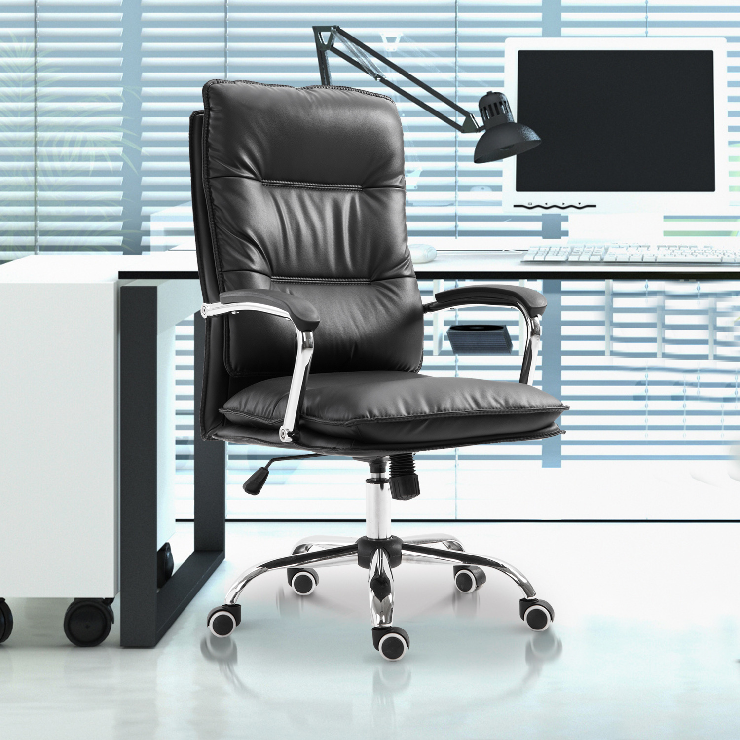 Image of CAD $124.99 Vinsetto High Back Office Chair Swivel Seat PU Leather Black / Adjustable Executive Computer Desk with Padded Armrest Leathered Canada 95509792655