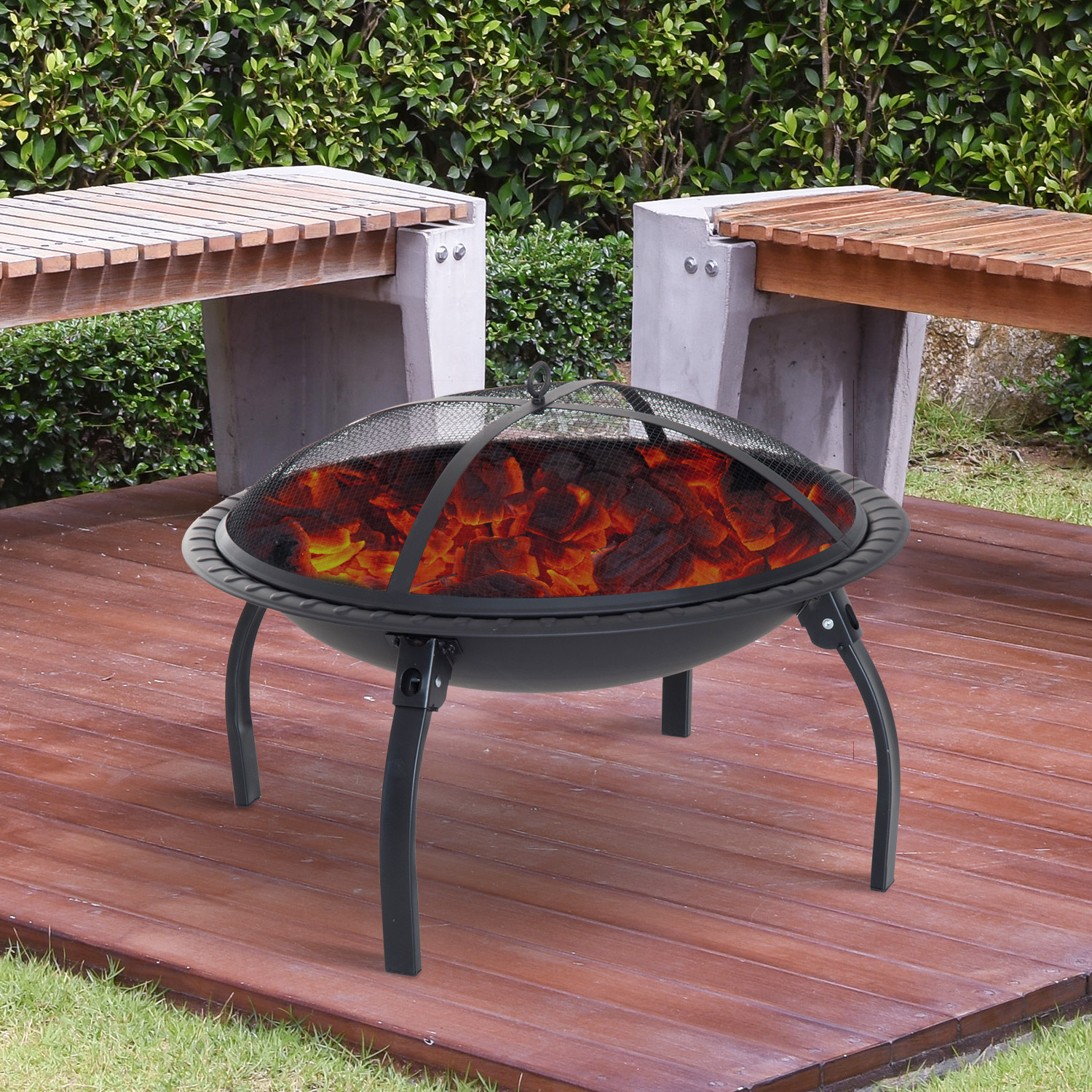 "Image of CAD $82.99 Outsunny 28"" Round Firepit Backyard Folding Fireplace Patio Stove with Poker and Spark Screen / Garden Portable Wood Burning Black Fire Pit Porch w/ Canada 25093585982"