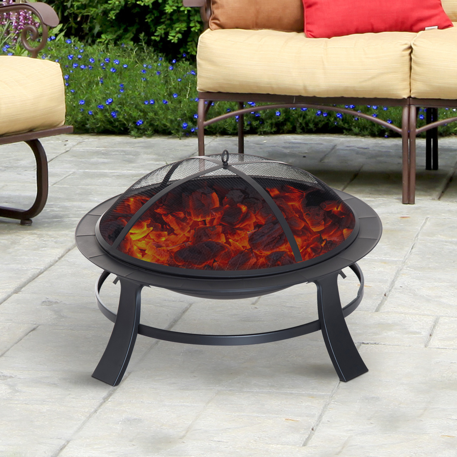 "Image of CAD $89.99 Outsunny 30"" Round Firepit Backyard Portable Fireplace Patio Stove with Poker and Spark Screen / Garden Wood Burning Black Fire Pit Porch w/ Canada 25093585999"