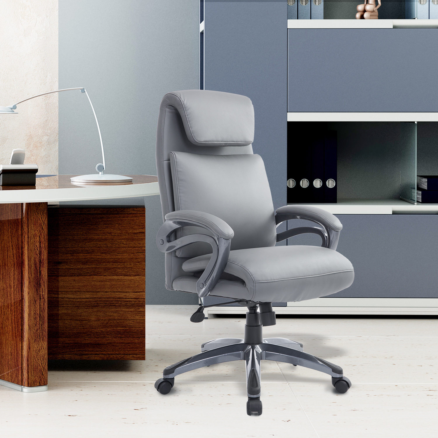 Image of CAD $139.99 HOMCOM High Back Ergonomic Executive Office Chair Computer Seat with Rolled Headrest Leather Grey / Adjustable Swivel Thick Padded Home PU Canada 25093586019