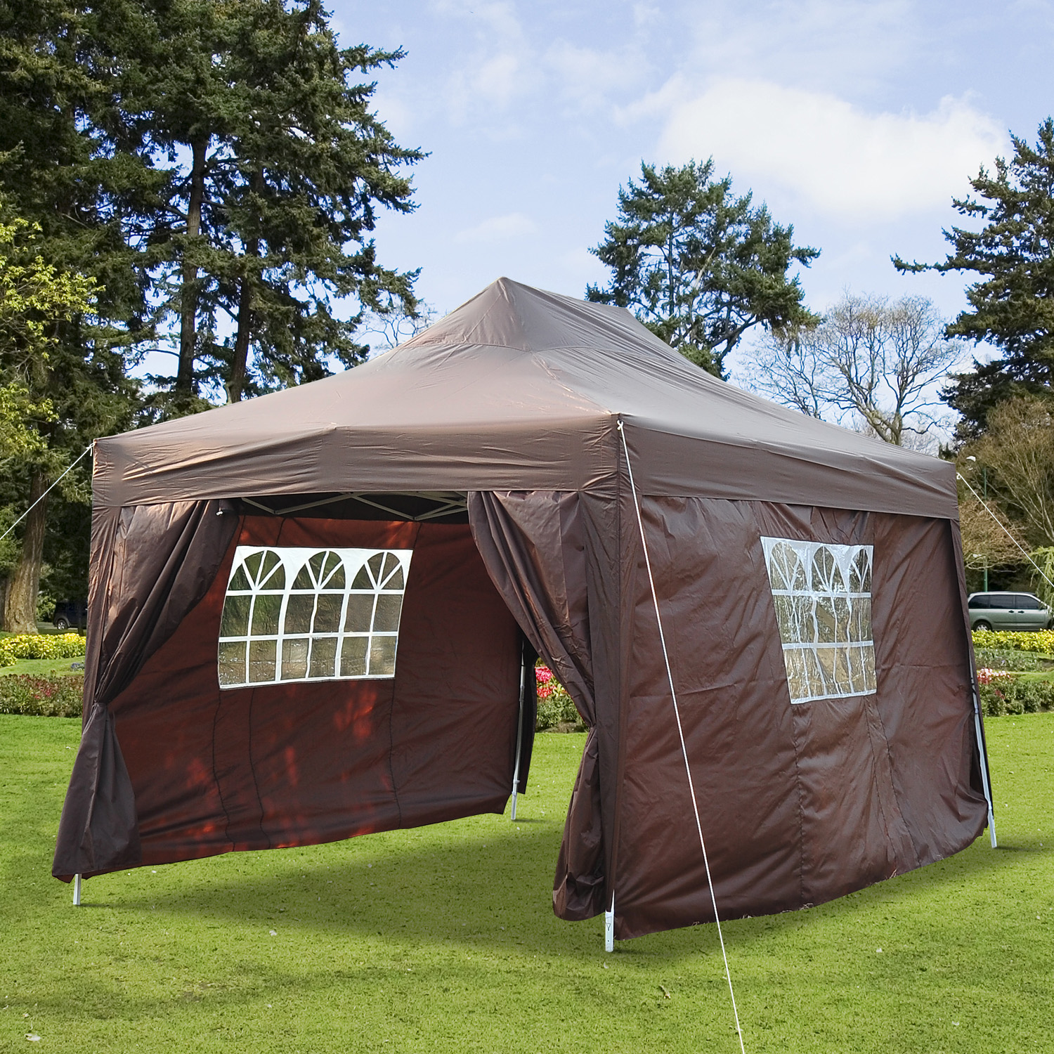 Image of CAD $144.99 Outsunny 10x15ft Pop Up Party Tent Gazebo Wedding Canopy Outdoor w/ Sidewalls and Carrying Bag Coffee / Portable Folding with Carry Case Marquee Pavilion Backyard Canada 25093584268