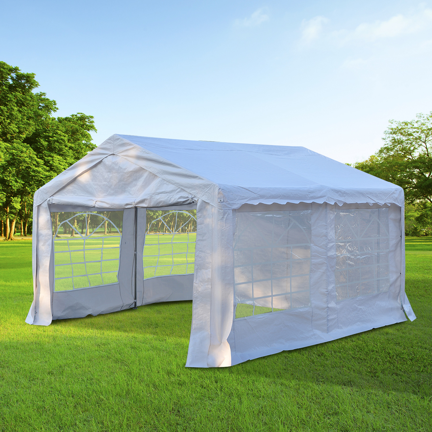 Image of CAD $259.99 Outsunny 13x13ft Heavy Duty Outdoor Carport Wedding Party Tent Patio Event Gazebo Canopy with Sidewalls White / 13'x13' Garage Portable Garden Canada 25093584435