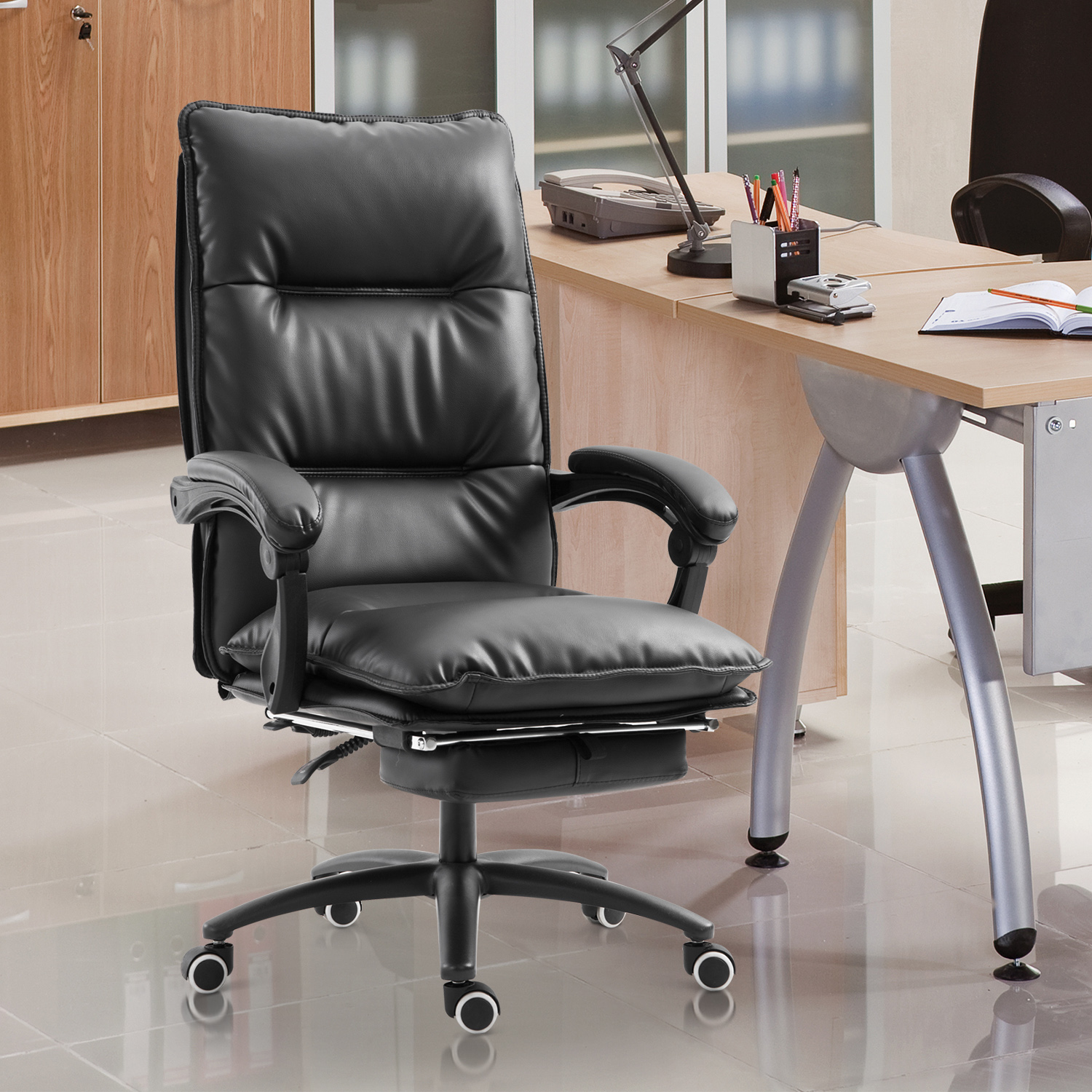 Image of CAD $159.99 Vinsetto Office Chair with Extend Footrest PU Leather Black / High Back Executive Adjustable Swivel Recliner Seat Reclining w/ Canada 95509792648