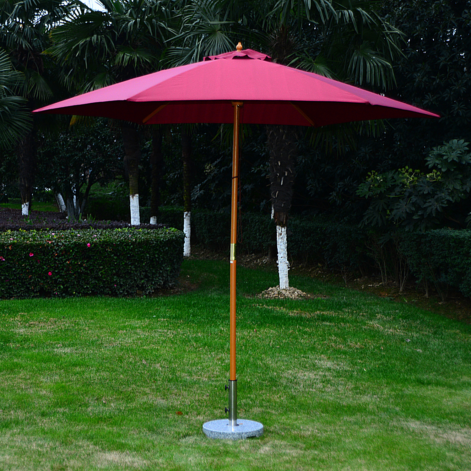 Image of CAD $59.99 Outsunny 9 ft Patio Umbrella Wood Solar Sunshade - red wine / ?9' x 8'H Wooden Round Market Sun Outdoor Canopy Canada 46655319418