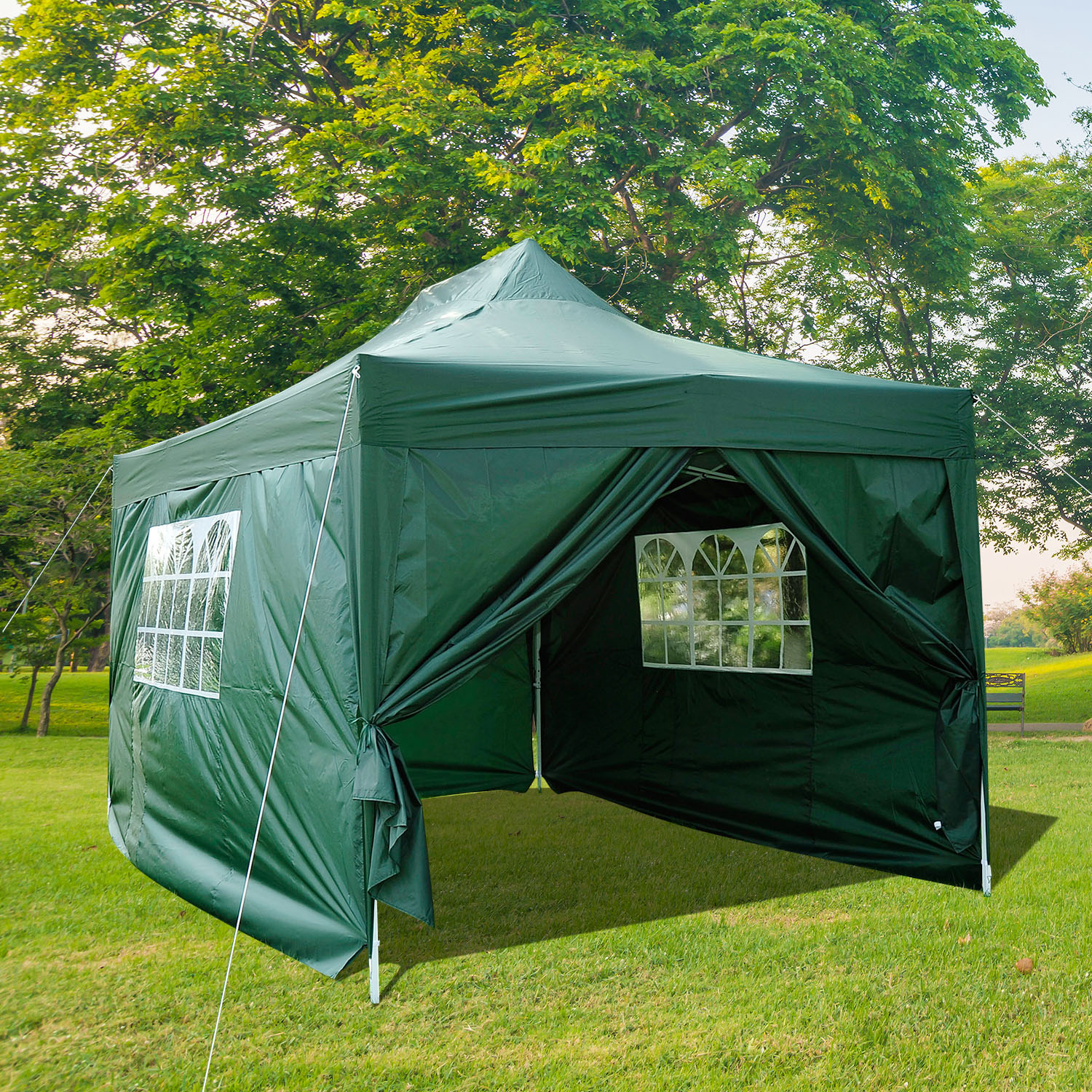Image of CAD $134.99 Outsunny 10x15ft Pop Up Party Tent Gazebo Wedding Canopy Outdoor w/ Sidewalls and Carrying Bag Green / Portable Folding with Carry Case Marquee Pavilion Canada 25093584275