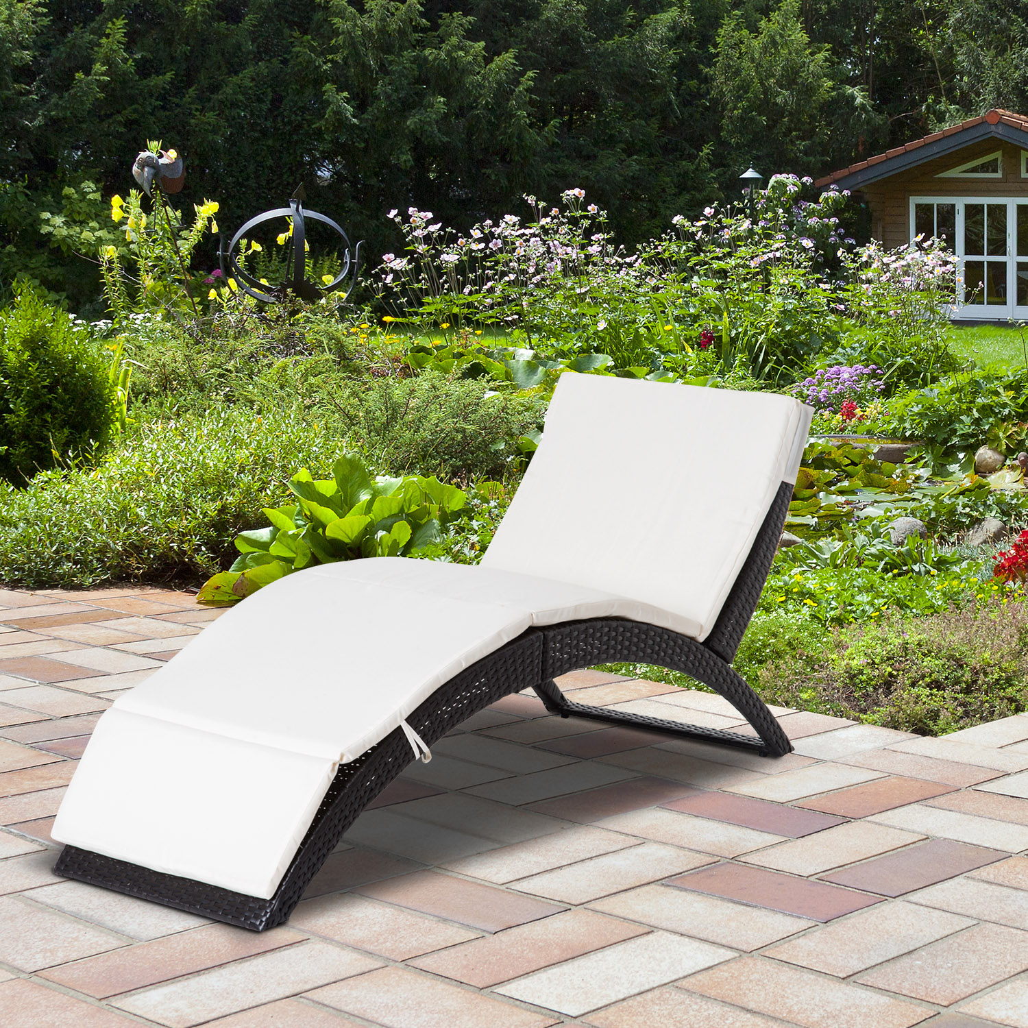 Image of CAD $169.99 Outsunny Patio Wicker Lounger Recliner Bed Folding Outdoor with Cushion / Chaise Garden w/ Canada 25093583995