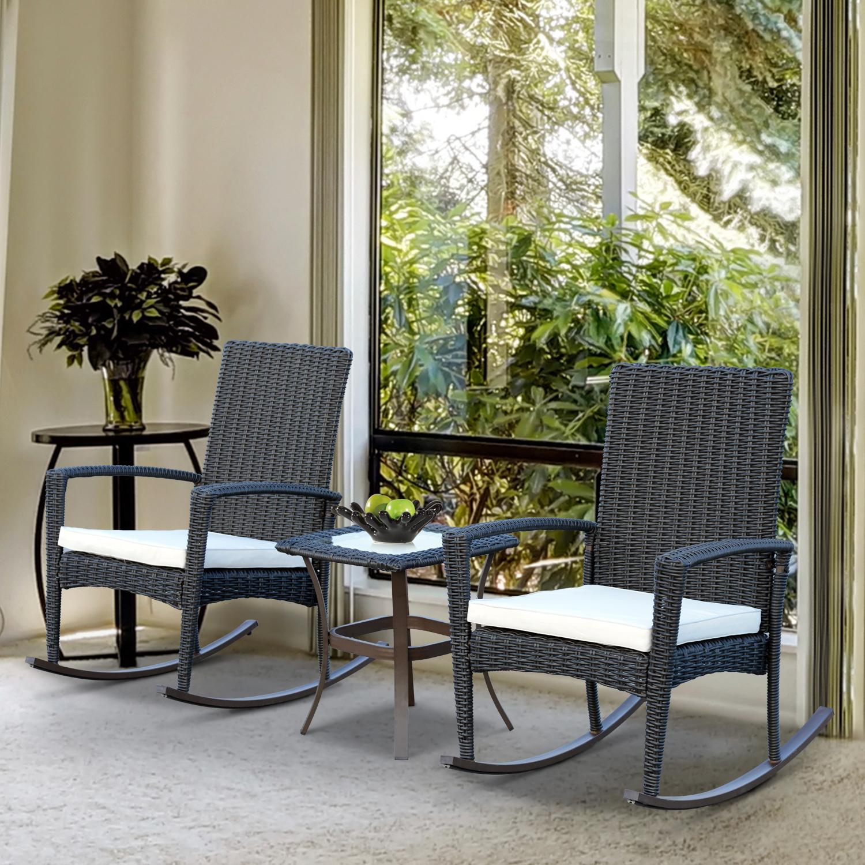 Image of CAD $229.99 Outsunny 3pcs Rocking Chair Table Set Outdoor Wicker Furniture 2 1 Coffee Backyard / Rattan Deck Patio Bistro Dark Grey Garden Canada 25093584886