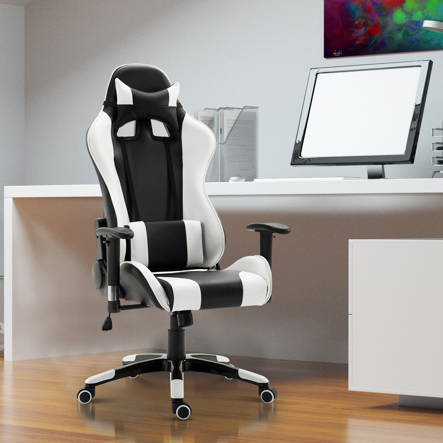 CAD 18699 HOMCOM Executive Racecar Style Office Chair Gaming Recliner Swivel Adjustable PU Padded Home White Styled Reclining Seat Canada 95509791573