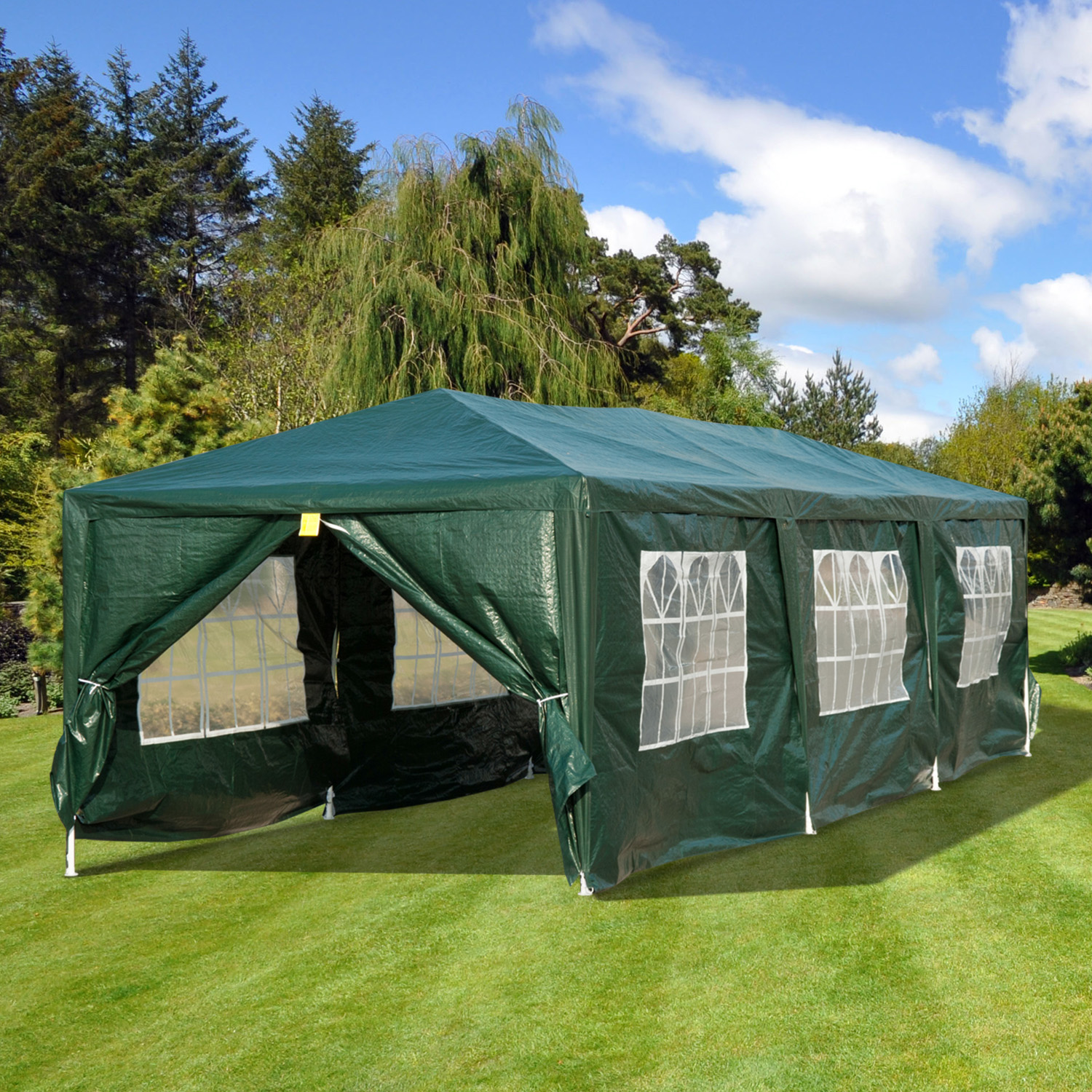Image of CAD $179.99 Outsunny 10x30ft Gazebo Canopy Party Tent Portable Outdoor Event Garden Pavilion with 8 Removable Wall Green / Wedding Sunshade w/ Side Canada 95509791245