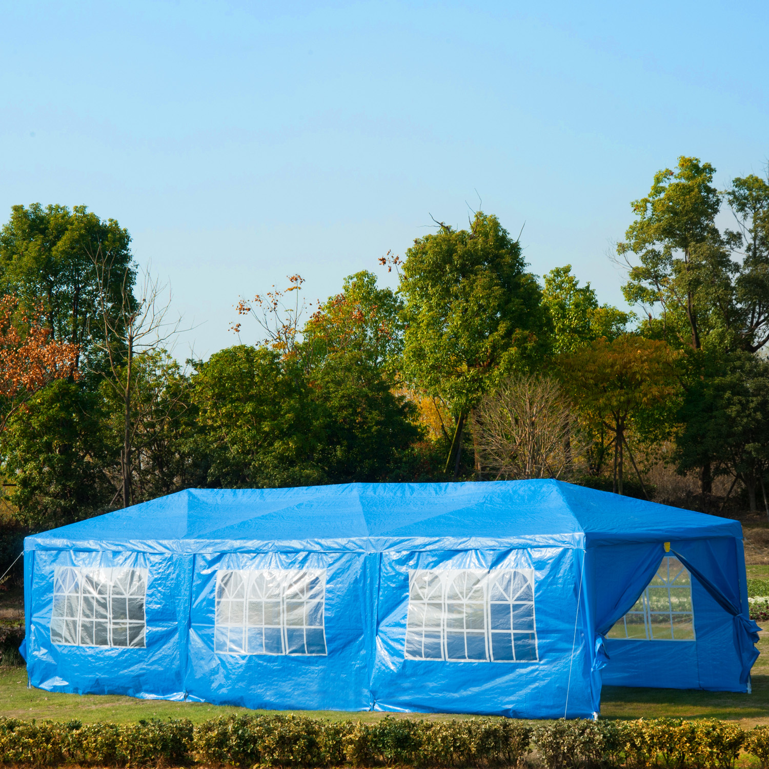 Image of CAD $189.99 Outsunny 10x30ft Gazebo Canopy Party Tent Portable Outdoor Event Garden Pavilion with 8 Removable Wall Blue / Wedding Sunshade w/ Side Canada 95509798664
