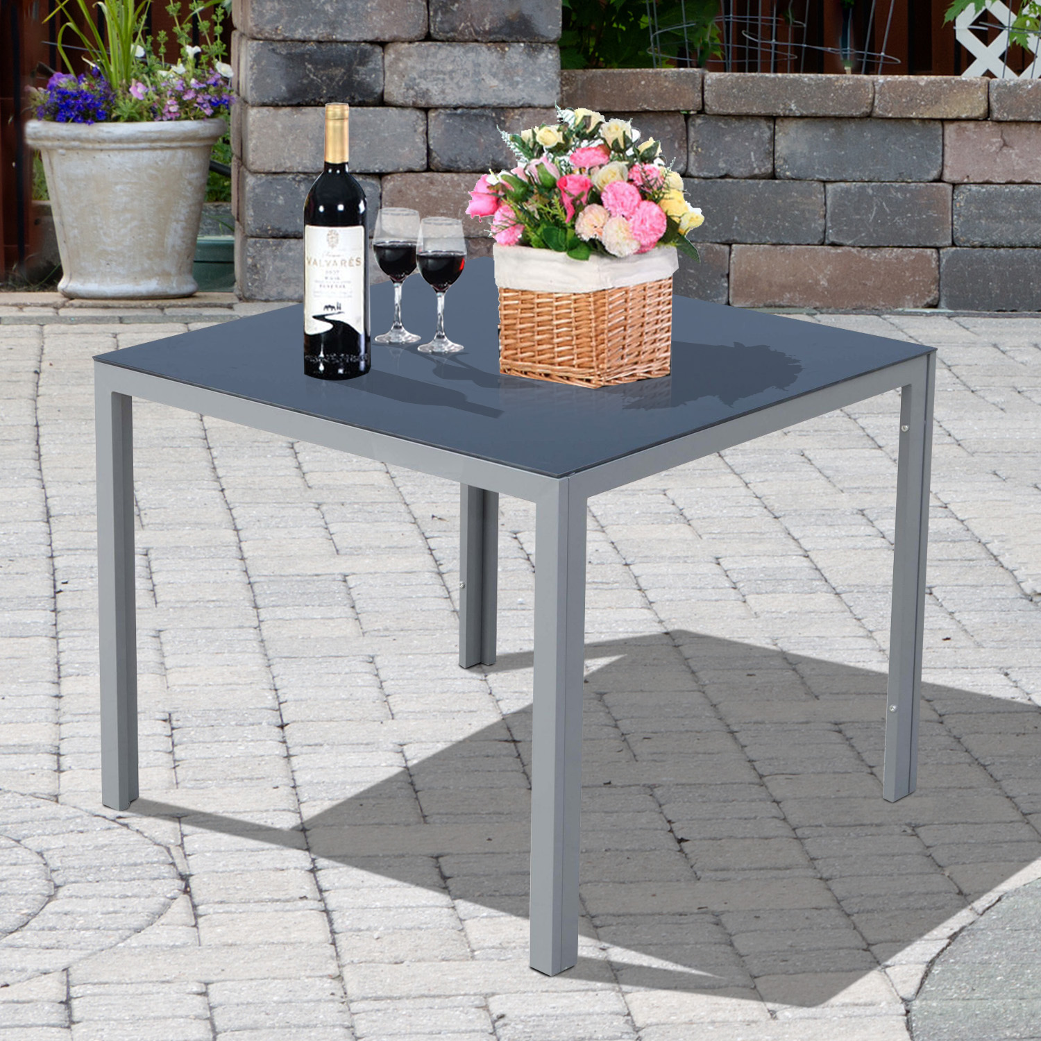 "Image of CAD $69.99 Outsunny 34""x34"" Garden Table Dining Desk Tempered Glass Tabletop Backyard Aluminum / CLEARANCE 34"" Top Outdoor Canada 25093584725"