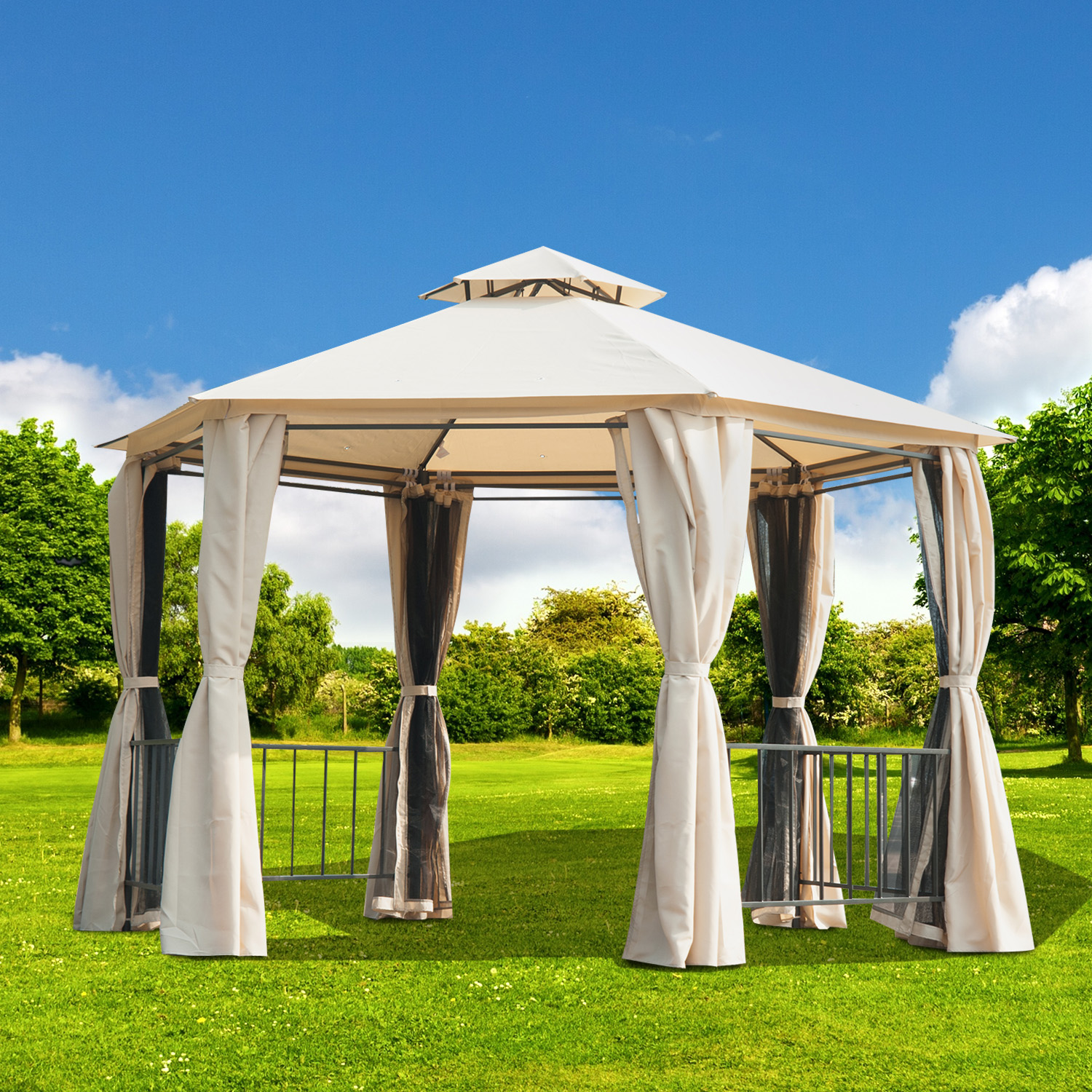 Image of CAD $469.99 Outsunny 10x10ft Garden Gazebo Patio Canopy Double Tier Outdoor Shelter with Mosquito Netting Beige / 13ft Hexagon Portable Curtains 13' Sunshade Backyard w/ Canada 95509791221
