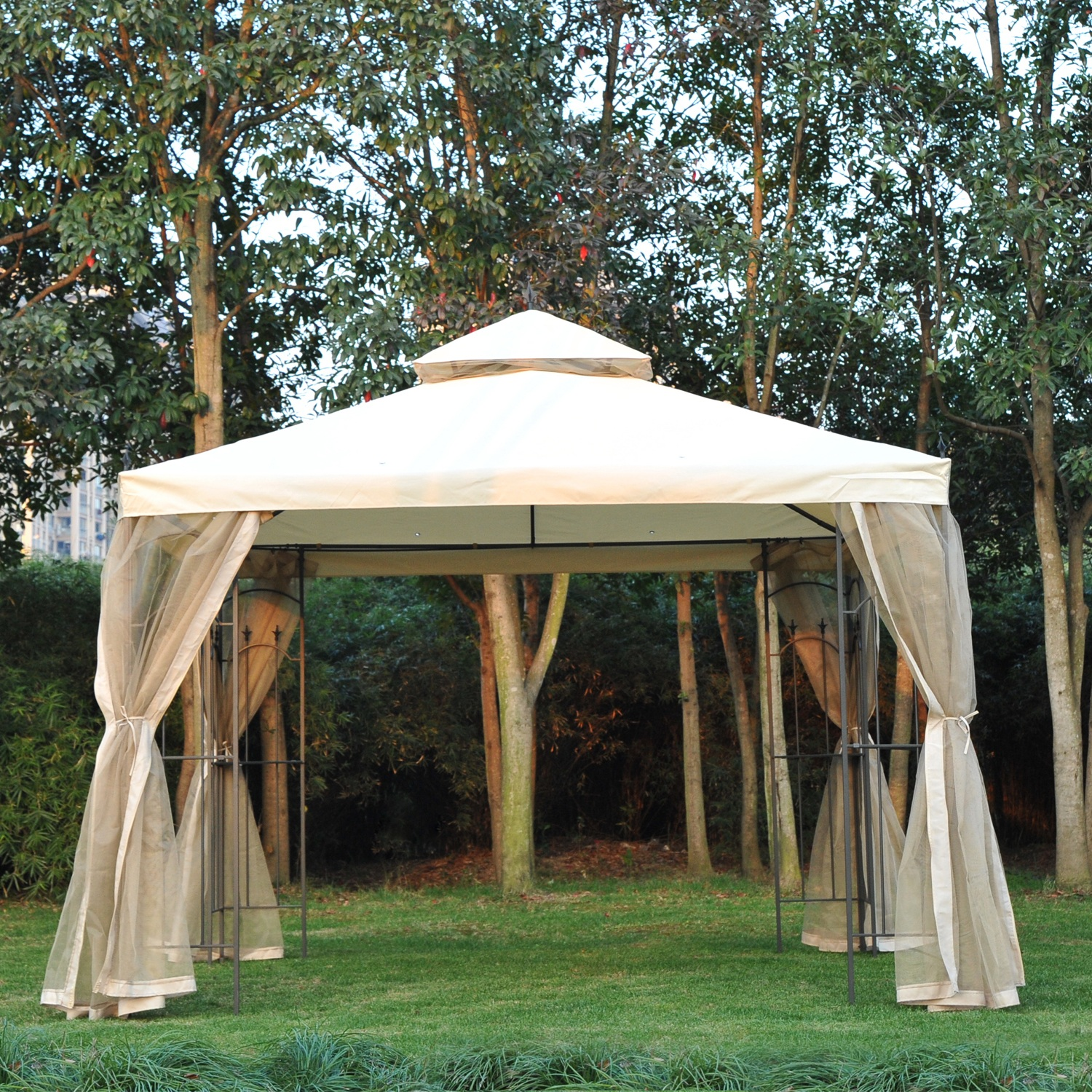 Image of CAD $239.99 Outsunny 10'x10' Garden Gazebo w/ Mesh Curtain Double Top Canopy Beige / 10x10ft Outdoor Patio Event Party Tent Backyard Sun Shade with Canada 95509792679