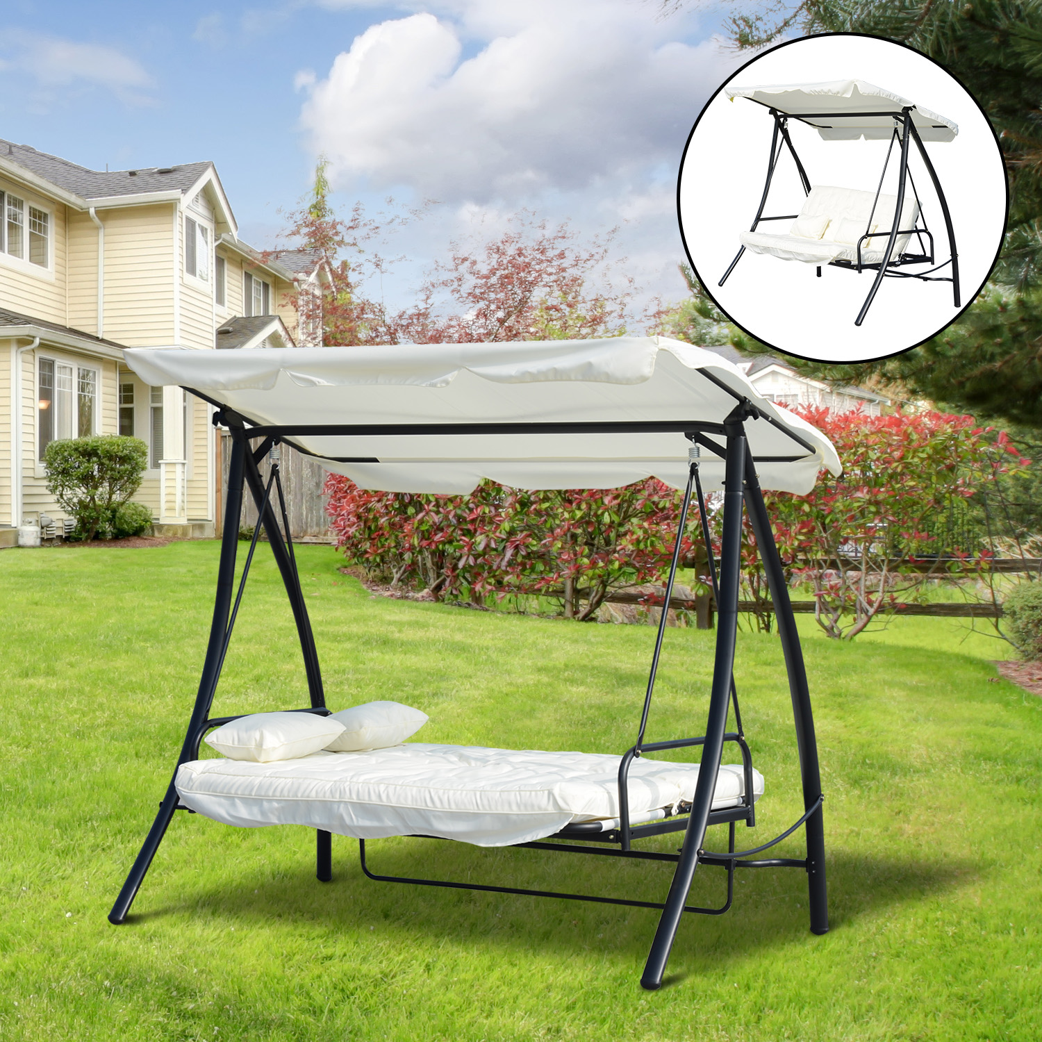 Image of CAD $299.99 Outsunny 3 Seater Swing Chair 2-in-1 Lounge Hammock Cushioned Seat Portable Outdoor Porch with Canopy Cream White / HEAVY DUTY Garden Patio Convertible Bed Backyard w/ Canada 95509791207
