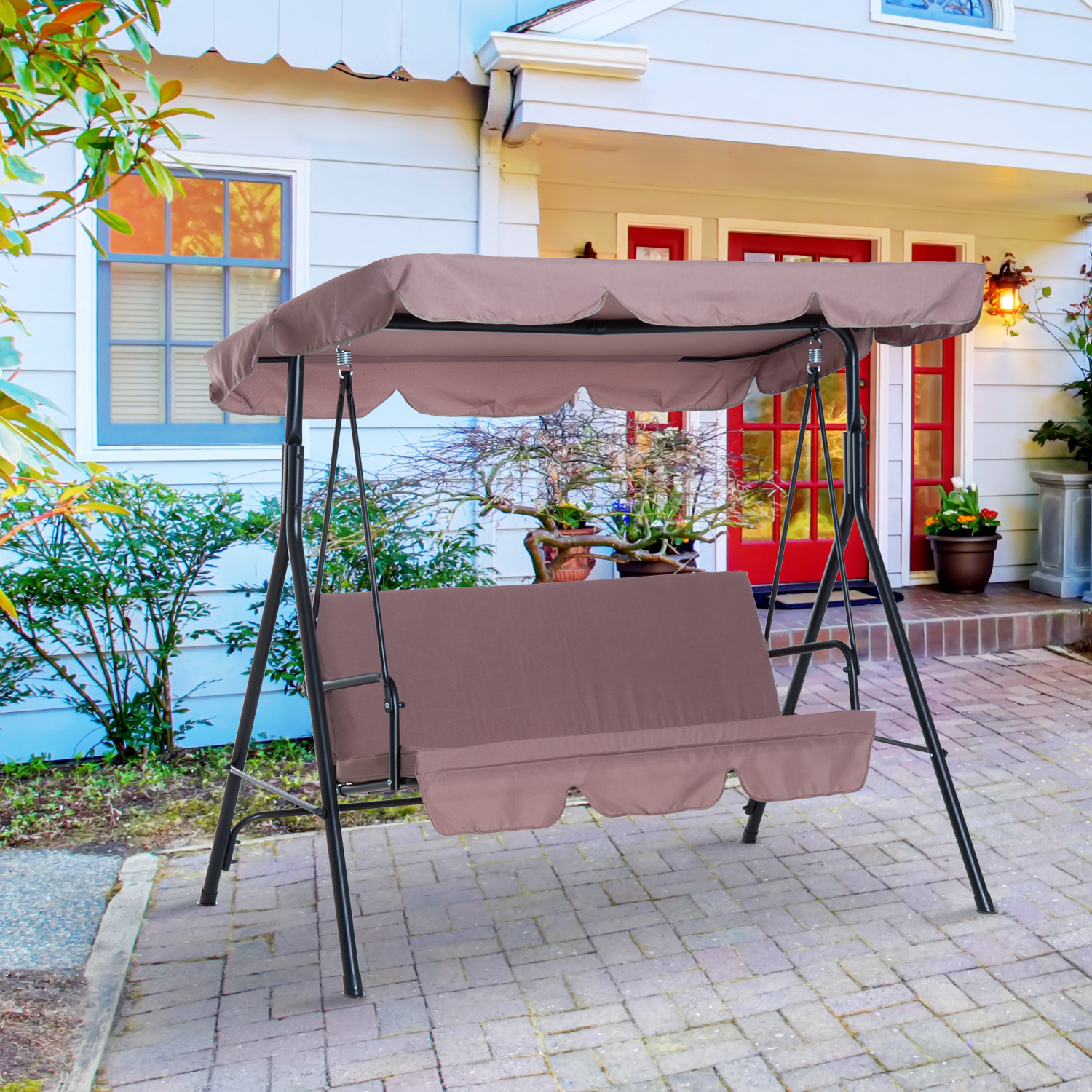 Image of CAD $149.99 Outsunny Meatal 3-Seater Outdoor Patio Swing with Canopy Cushioned Garden Lounger Brown / Chair Hammock Frame and 3 Seater Glider Seat Portable w/ Tile Canada 95509791528