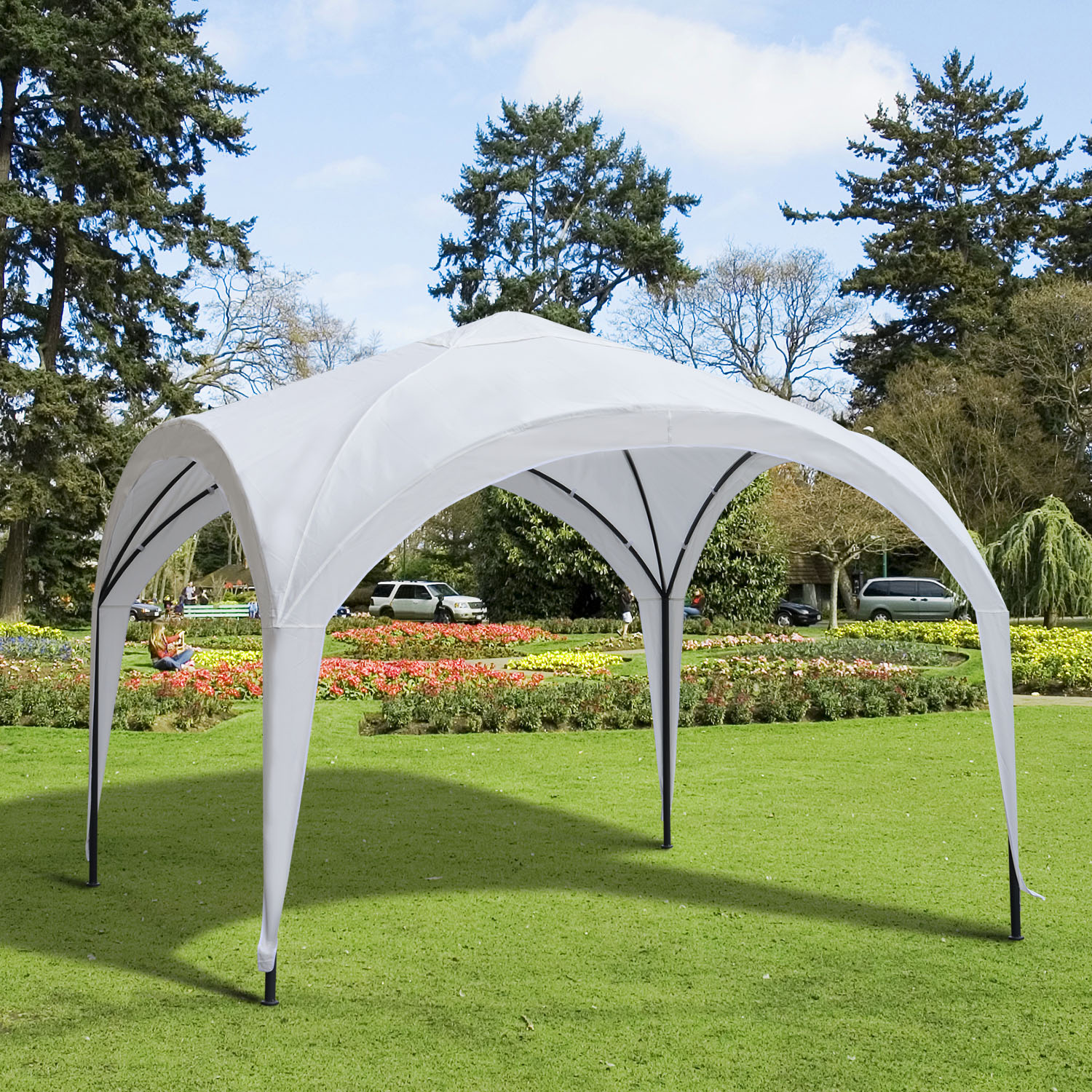 Image of CAD $129.99 Outsunny 10'x10' Outdoor Canopy Tent Patio Sunshade Cover White / 10x10ft Portable Gazebo Dome Garden Sun Shelter with Durable Frame Canada 95509793058