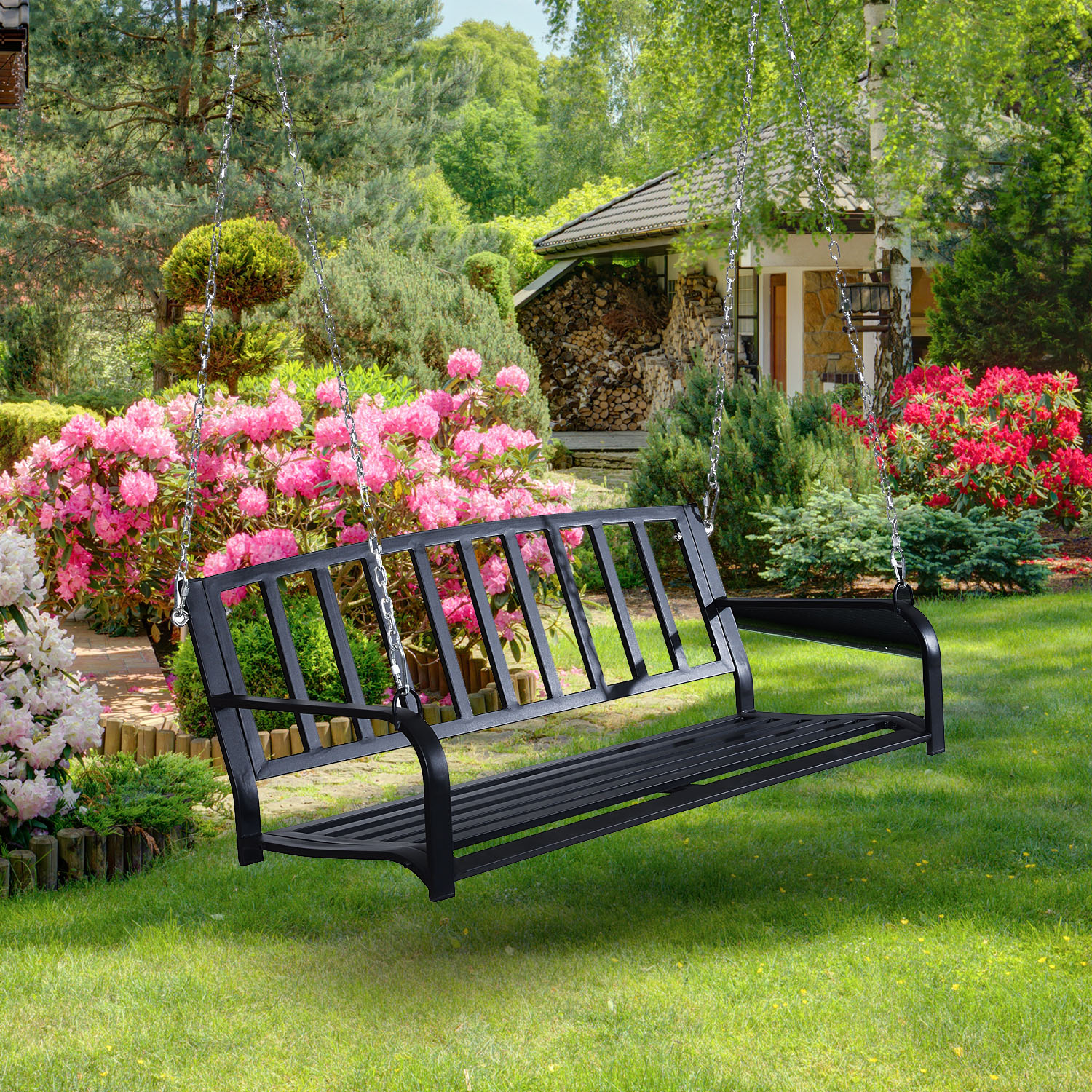 """Image of CAD $139.99 Outsunny 50"""" Outdoor Porch Swing Hanging Bench with Chain Black / Glider Chair w/ Canada 95509801425"""