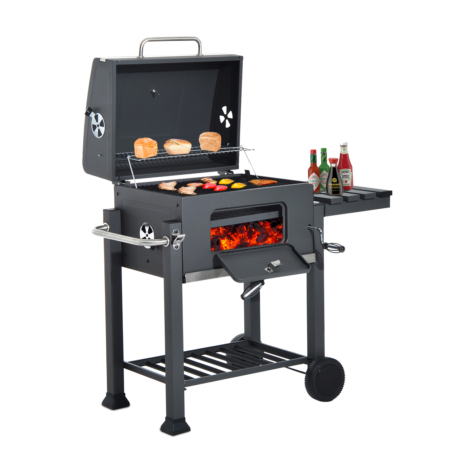 Image of CAD $229.99 Outsunny Charcoal Grill BBQ Trolley Smoker Camping Picnic Portable Backyard with Side Shelf / Barbecue Cooking Patio w/ Canada 95509791191
