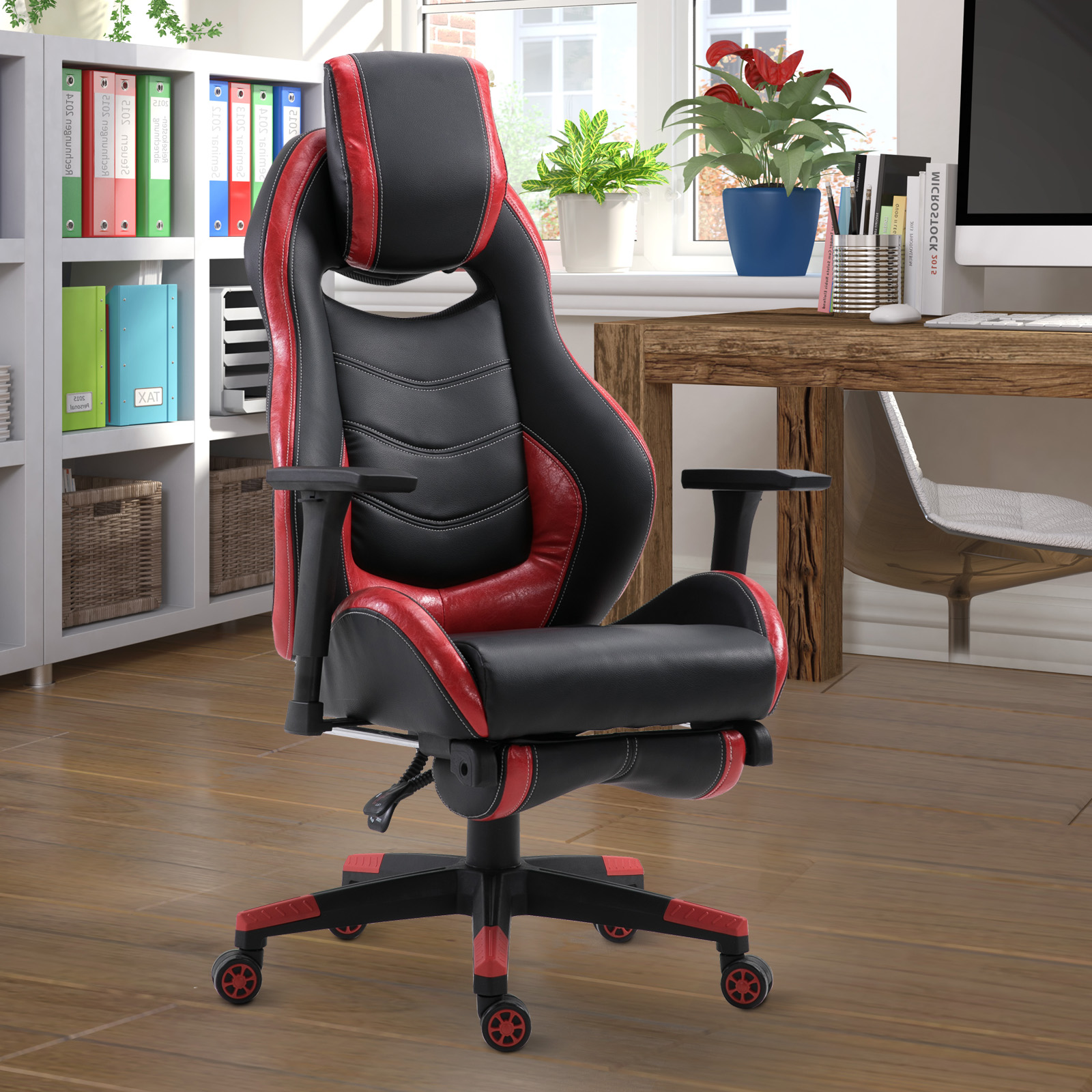 Brown Vinsetto Racing Style Gaming Chair Ergonomic Swivel PU Leather Cloth Padded Computer Office Desk Chair Reclining Adjustable Height