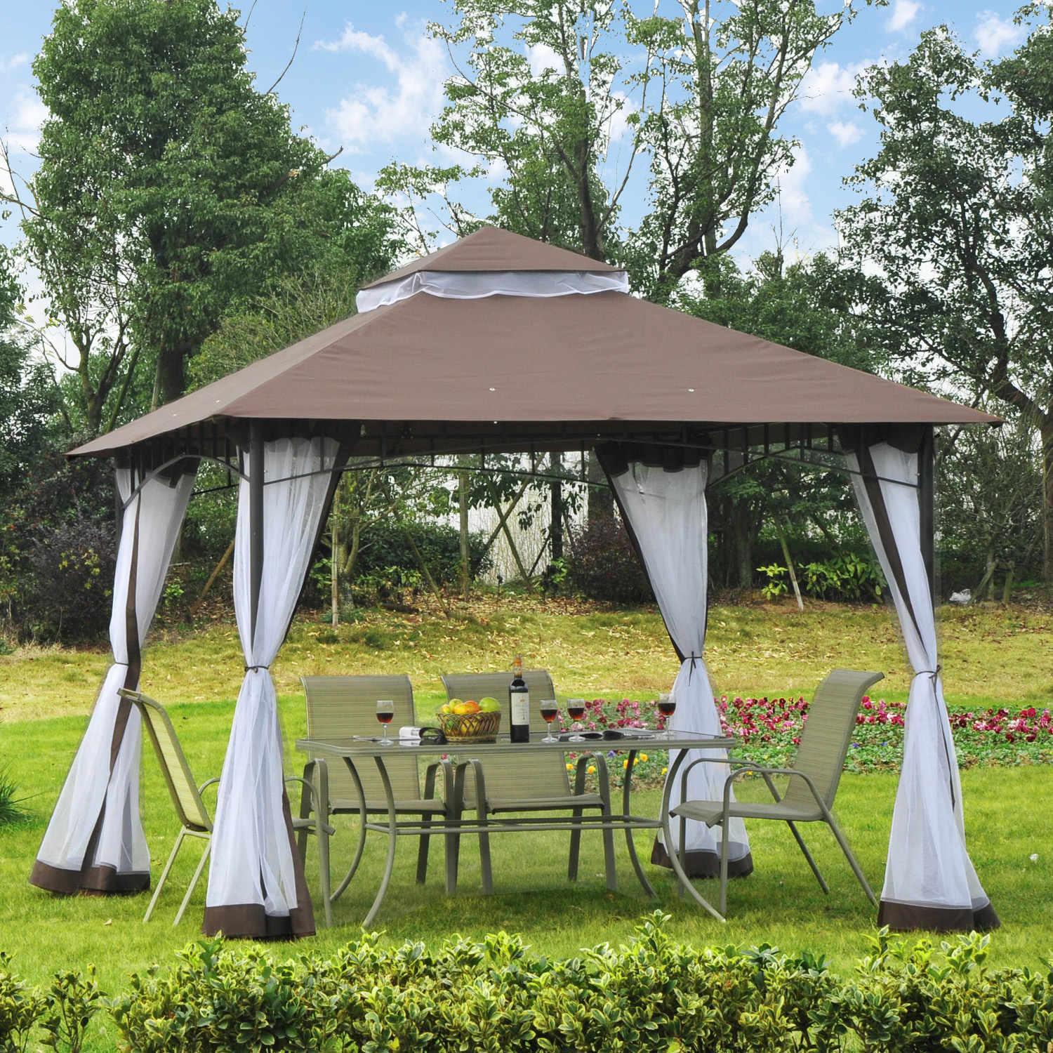 Image of CAD $209.99 Outsunny Garden Gazebo Canopy w/ Mesh Sidewalls Outdoor Sunshade Tent / 10x10ft Double Tier Water-Resistant Anti-UV Roof with Metal Frame and Double-Tier Party Screen Canada 95509793621